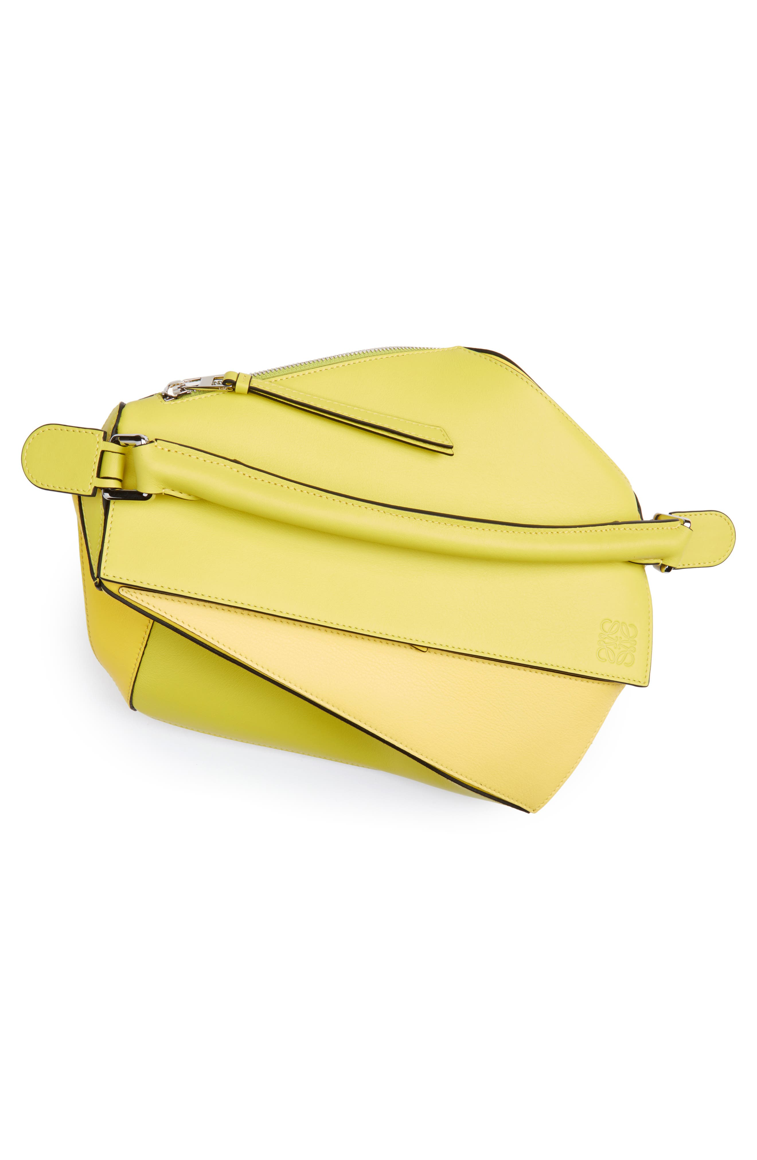 Medium Puzzle Calfskin Leather Shoulder Bag,                             Alternate thumbnail 4, color,                             Yellow Multitone