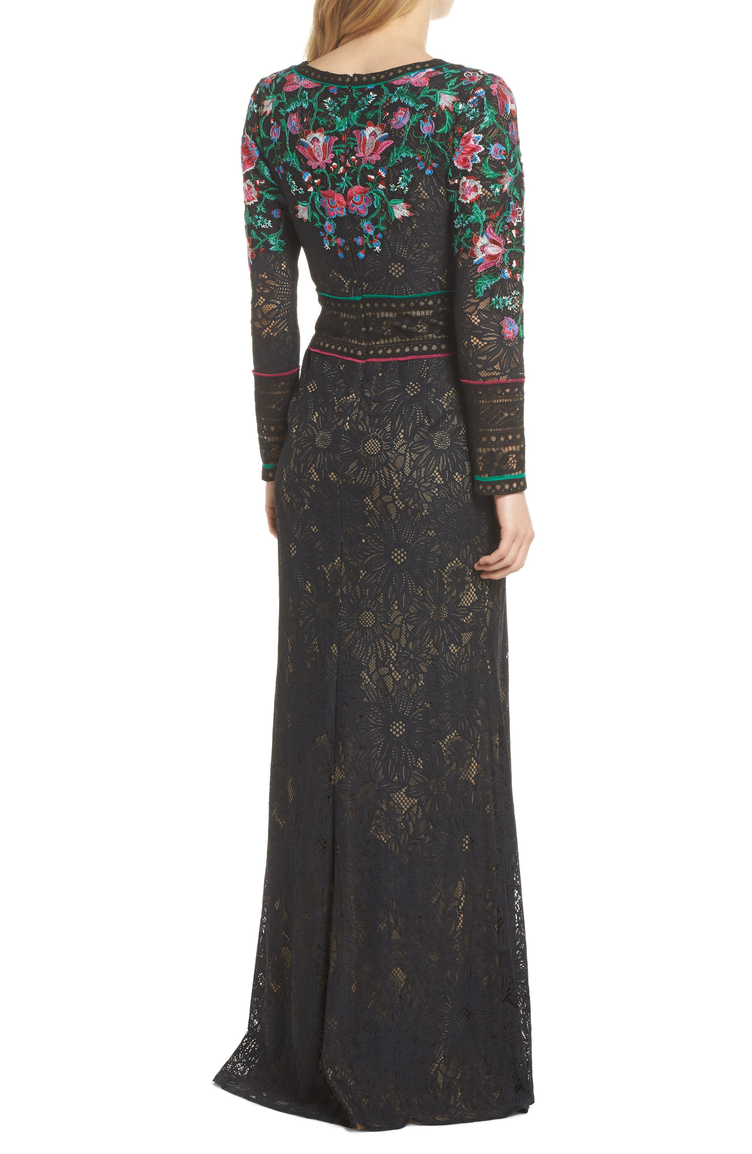 Embroidered Lace A-Line Gown,                             Alternate thumbnail 2, color,                             Black Dahlia