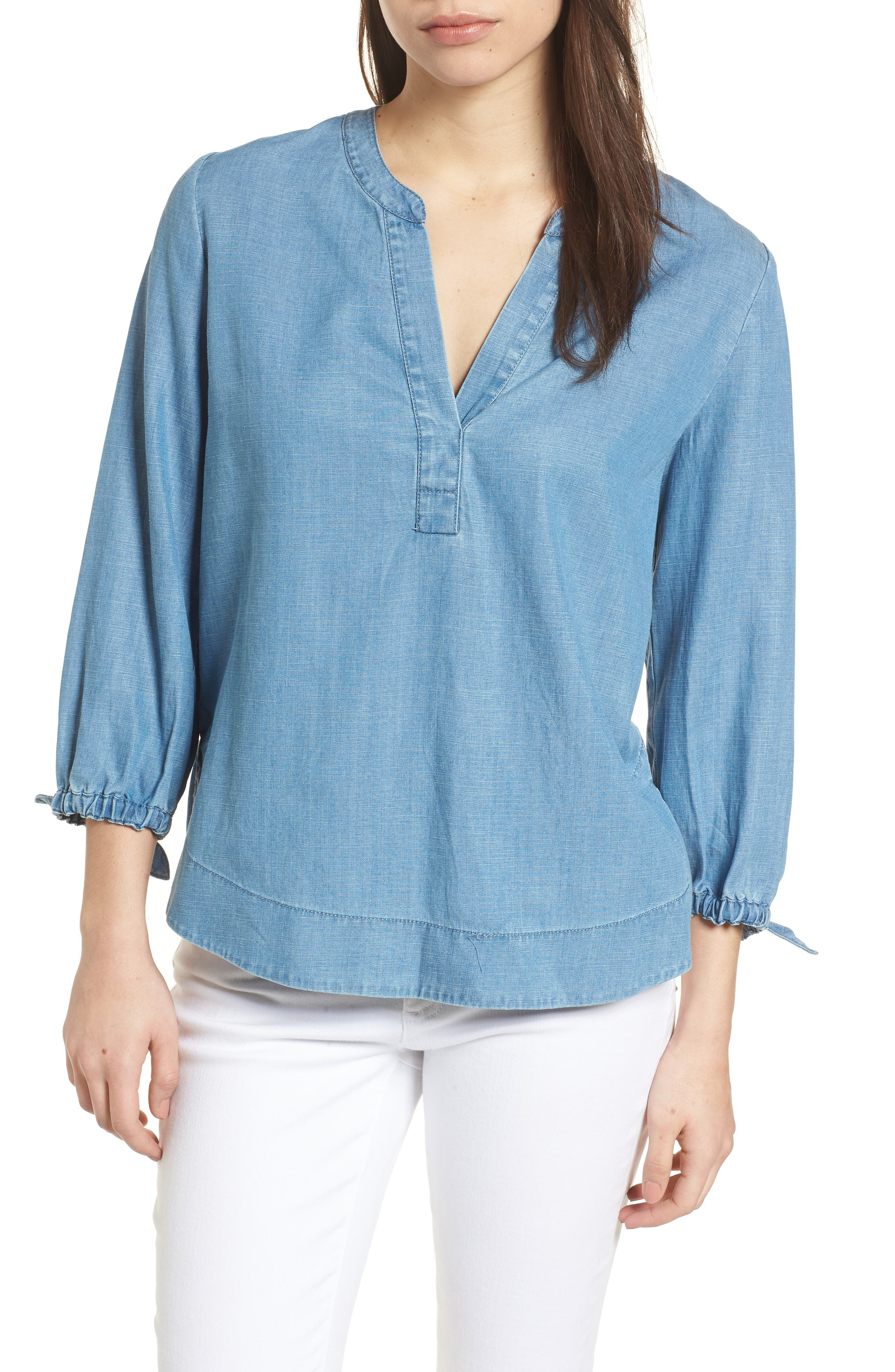 Chambray Tie Sleeve Popover Top,                             Main thumbnail 1, color,                             Summer Eve