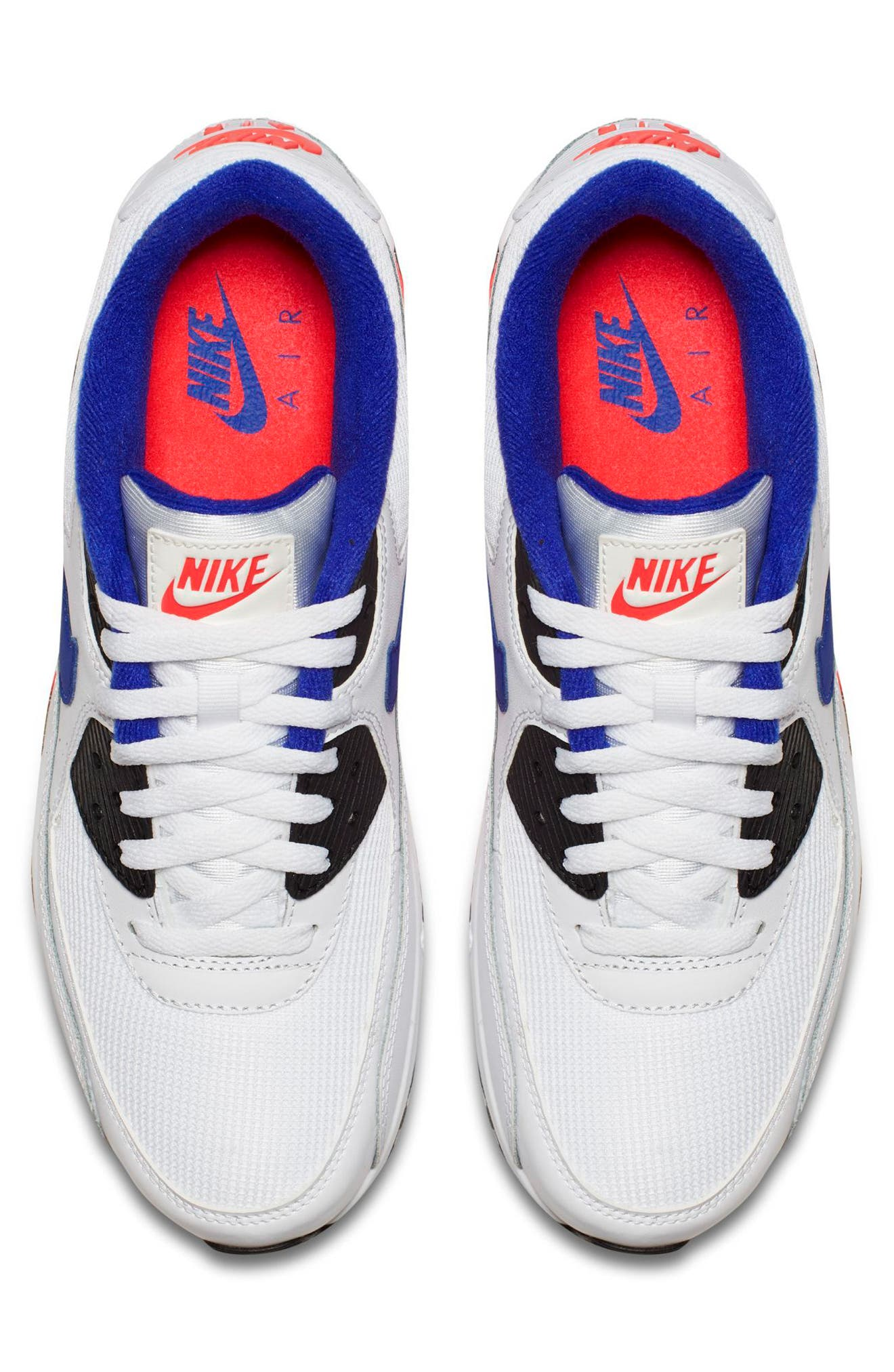 Air Max 90 Essential Sneaker,                             Alternate thumbnail 4, color,                             White/ Ultramarine