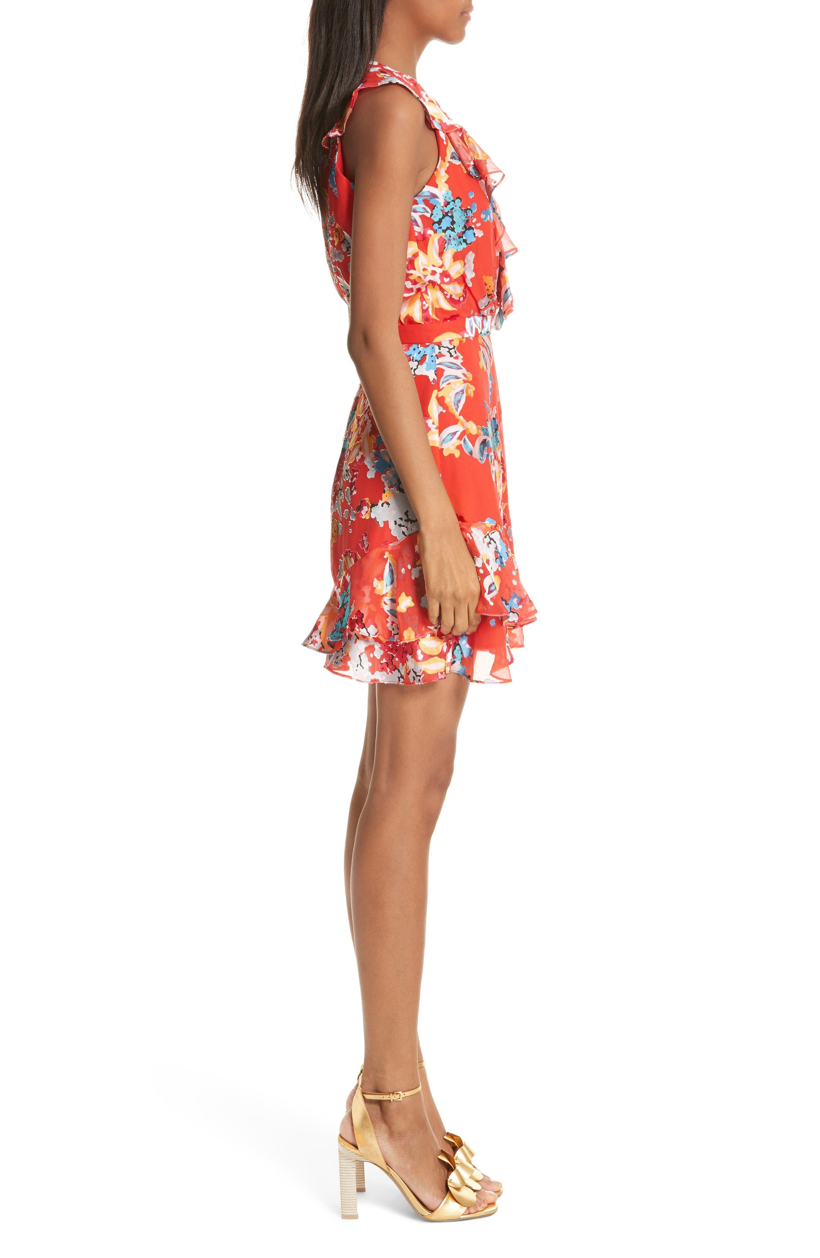 Cece Floral Print Ruffle Trim Dress,                             Alternate thumbnail 3, color,                             Coral Begonia