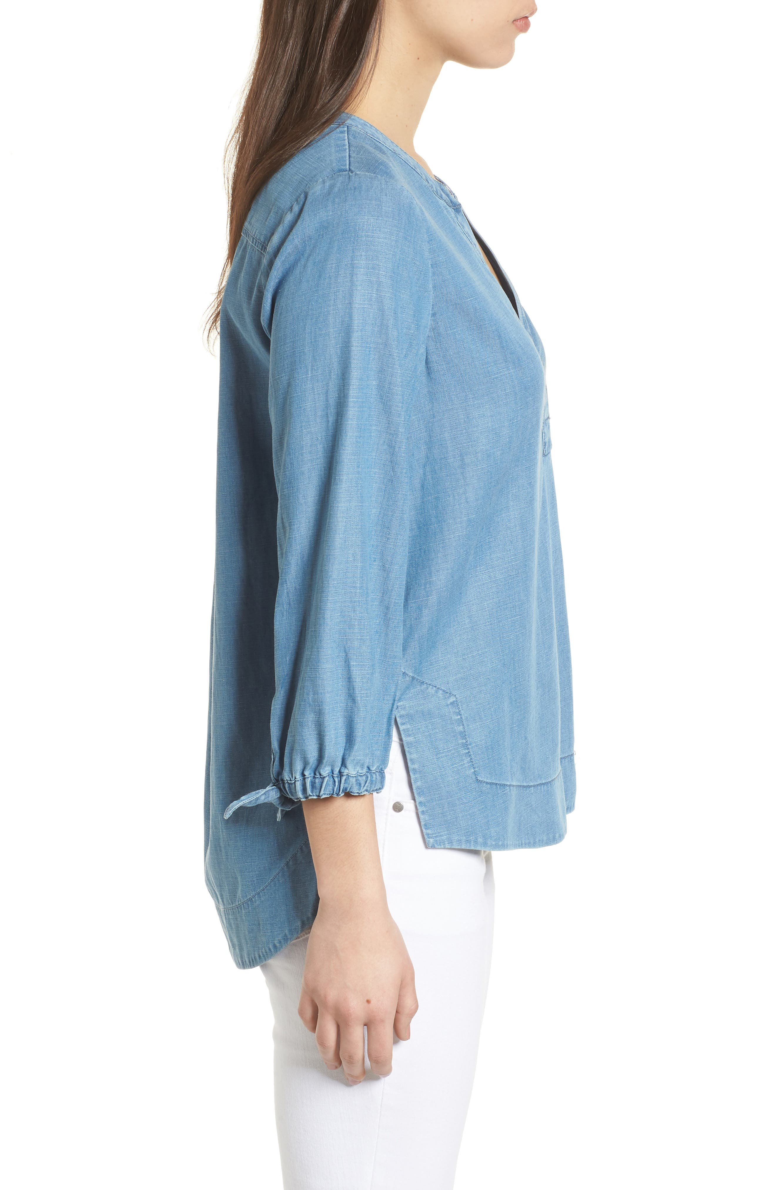 Chambray Tie Sleeve Popover Top,                             Alternate thumbnail 3, color,                             Summer Eve