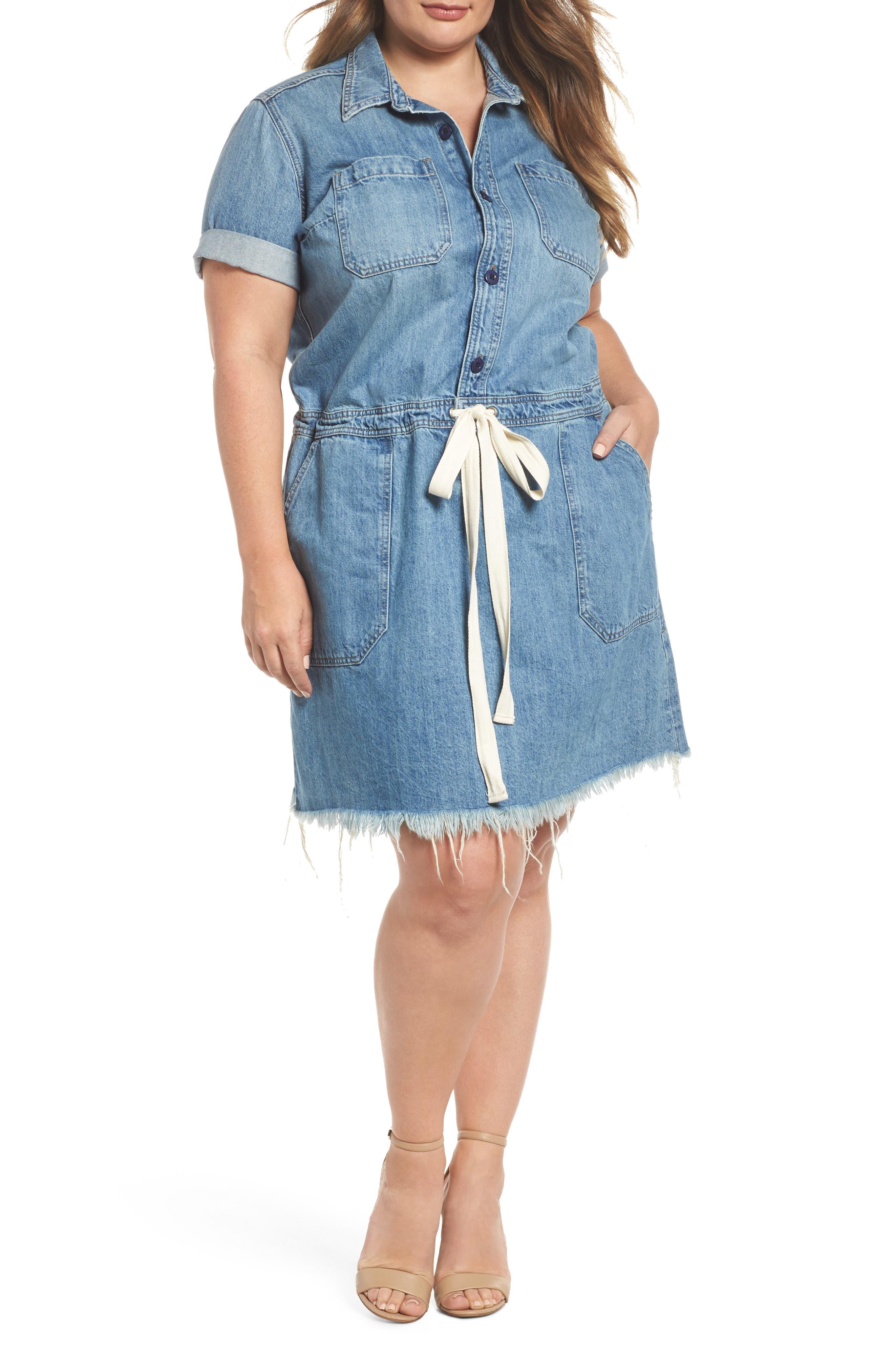 Lucky Brand Drawstring Denim Shirtdress (Plus Size)