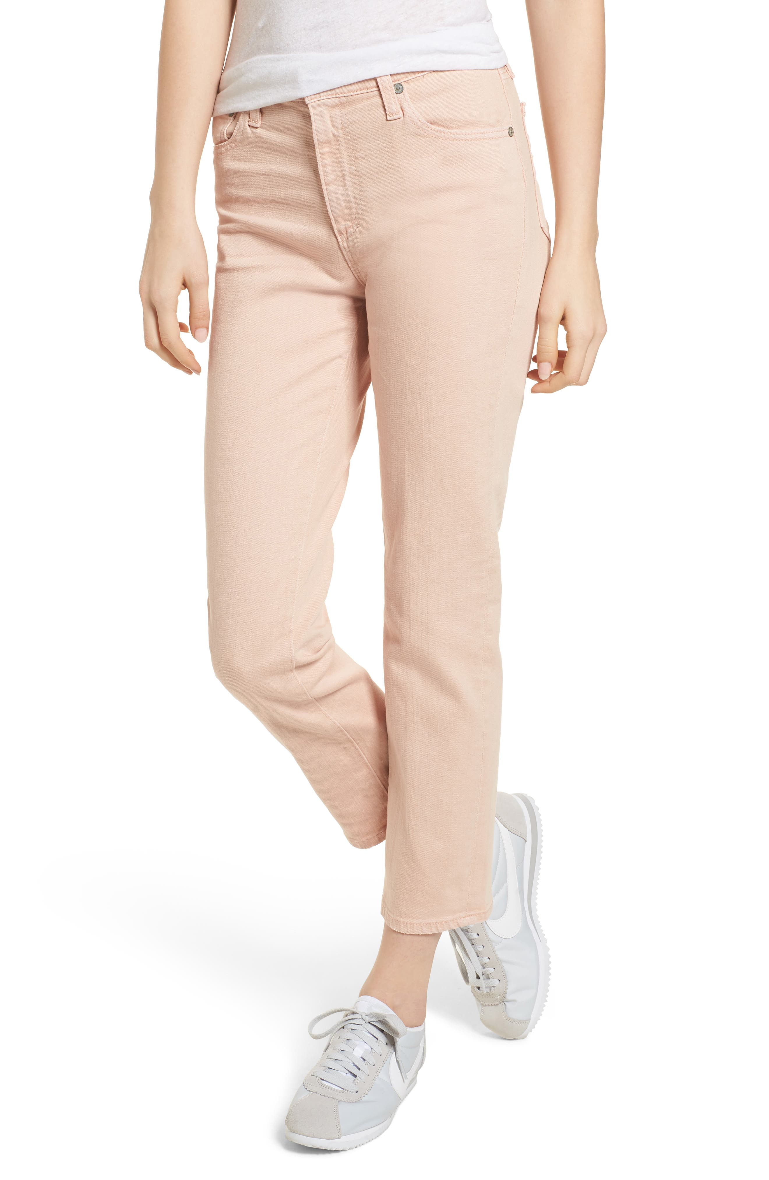 The Isabelle High Waist Crop Straight Leg Jeans,                             Main thumbnail 1, color,                             1 Year Sulfur Rosy Rogue