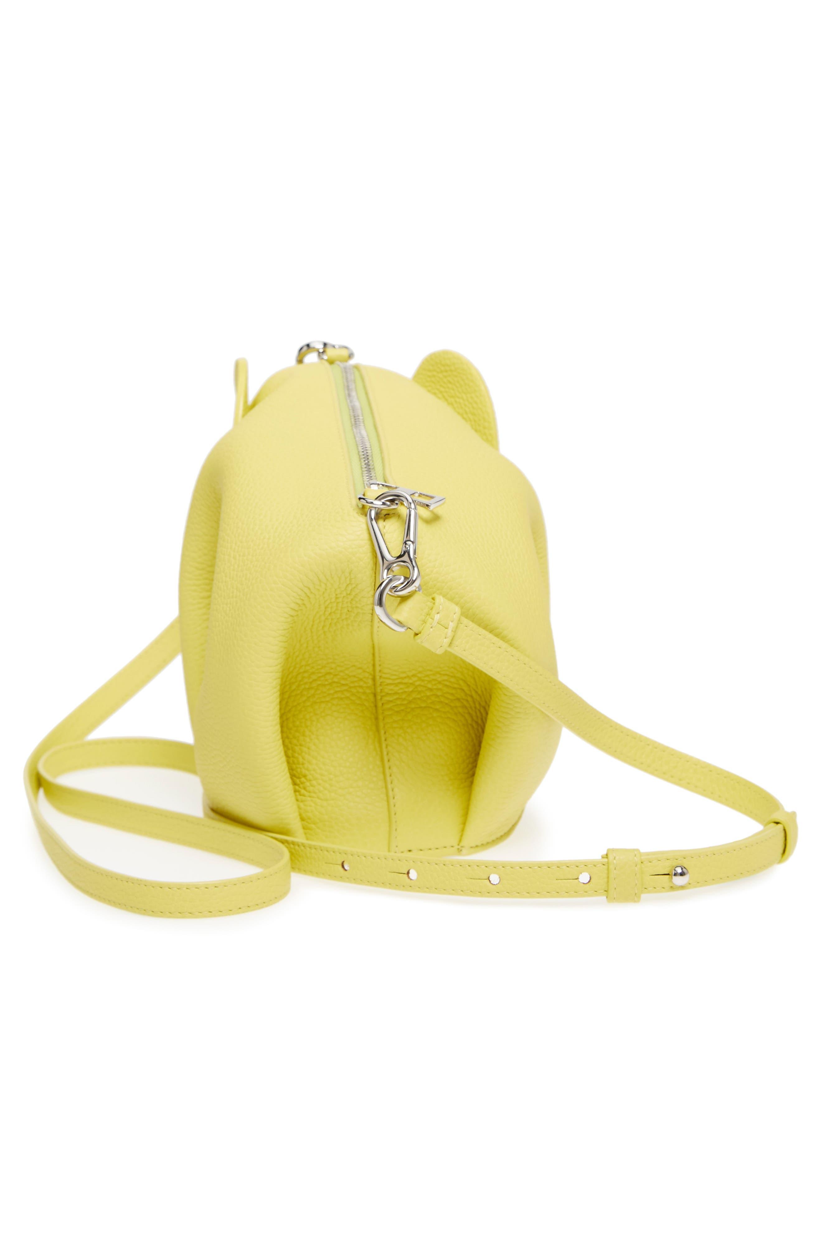 Mini Elephant Calfskin Crossbody Bag,                             Alternate thumbnail 5, color,                             Yellow Lemon