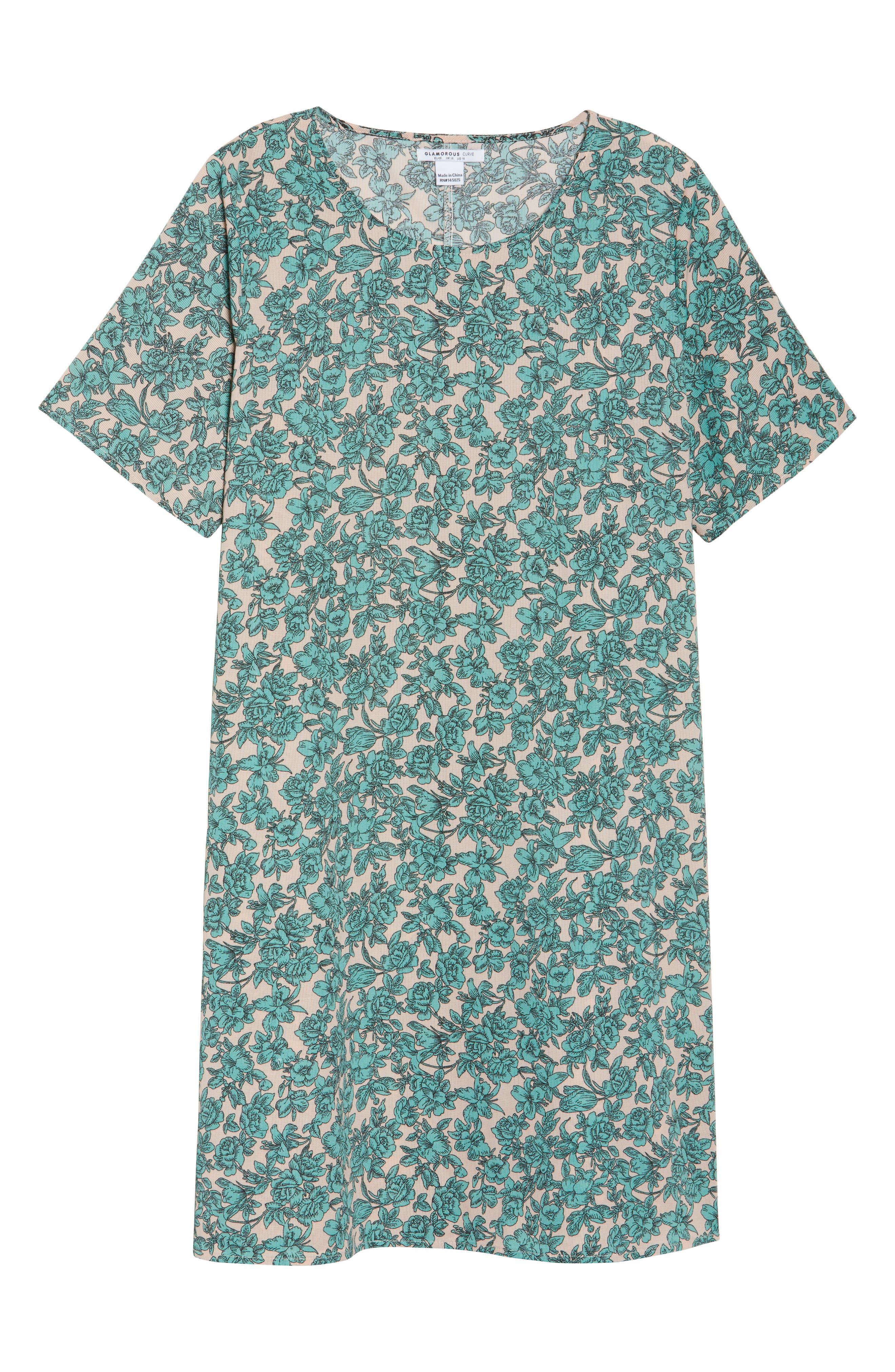 Floral Shift Dress,                             Alternate thumbnail 6, color,                             Sage Green Floral