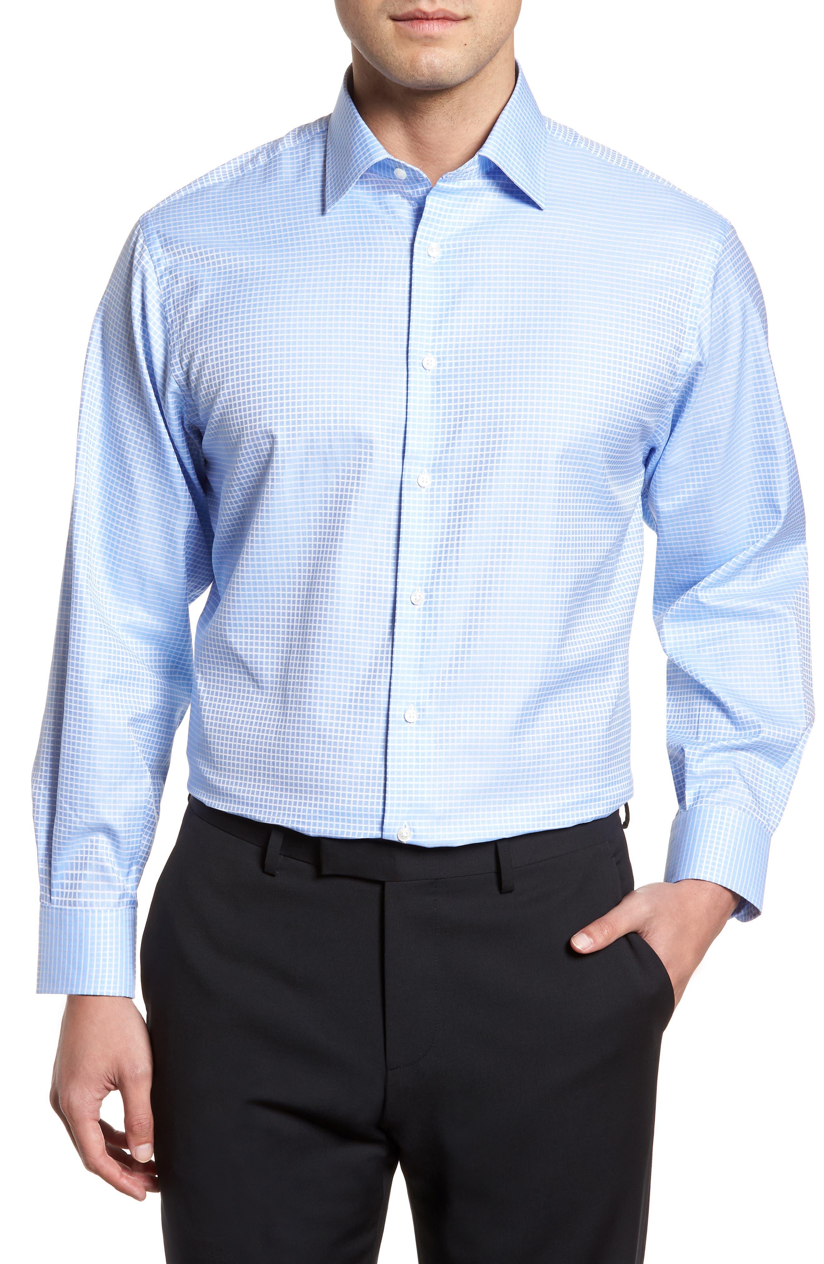 Classic Fit Check Dress Shirt,                         Main,                         color, Blue Hydrangea