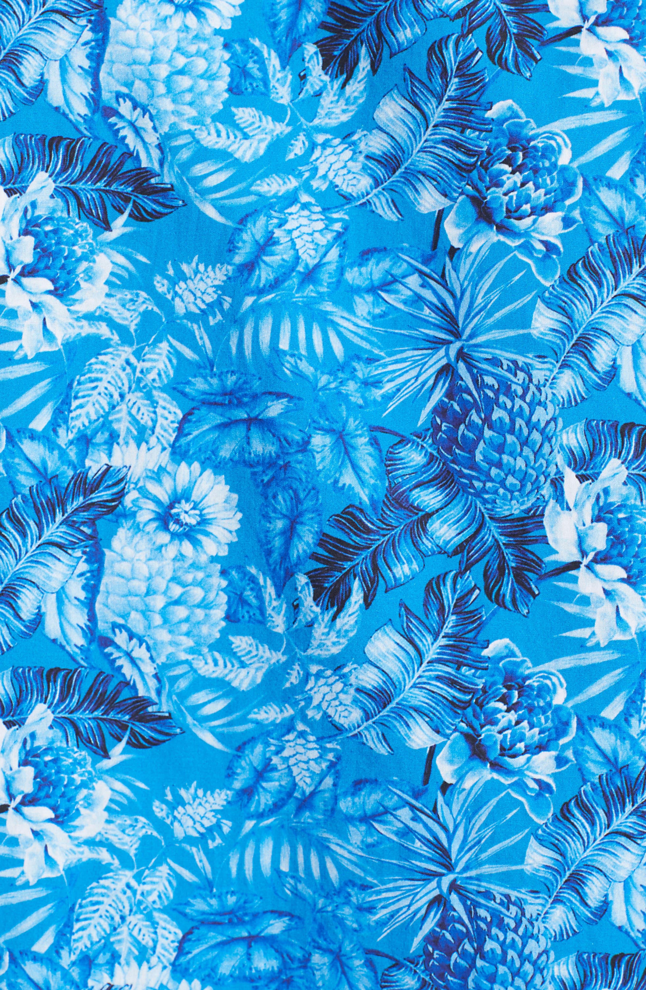 Premium Slim Fit Print Sport Shirt,                             Alternate thumbnail 5, color,                             Blue Floral