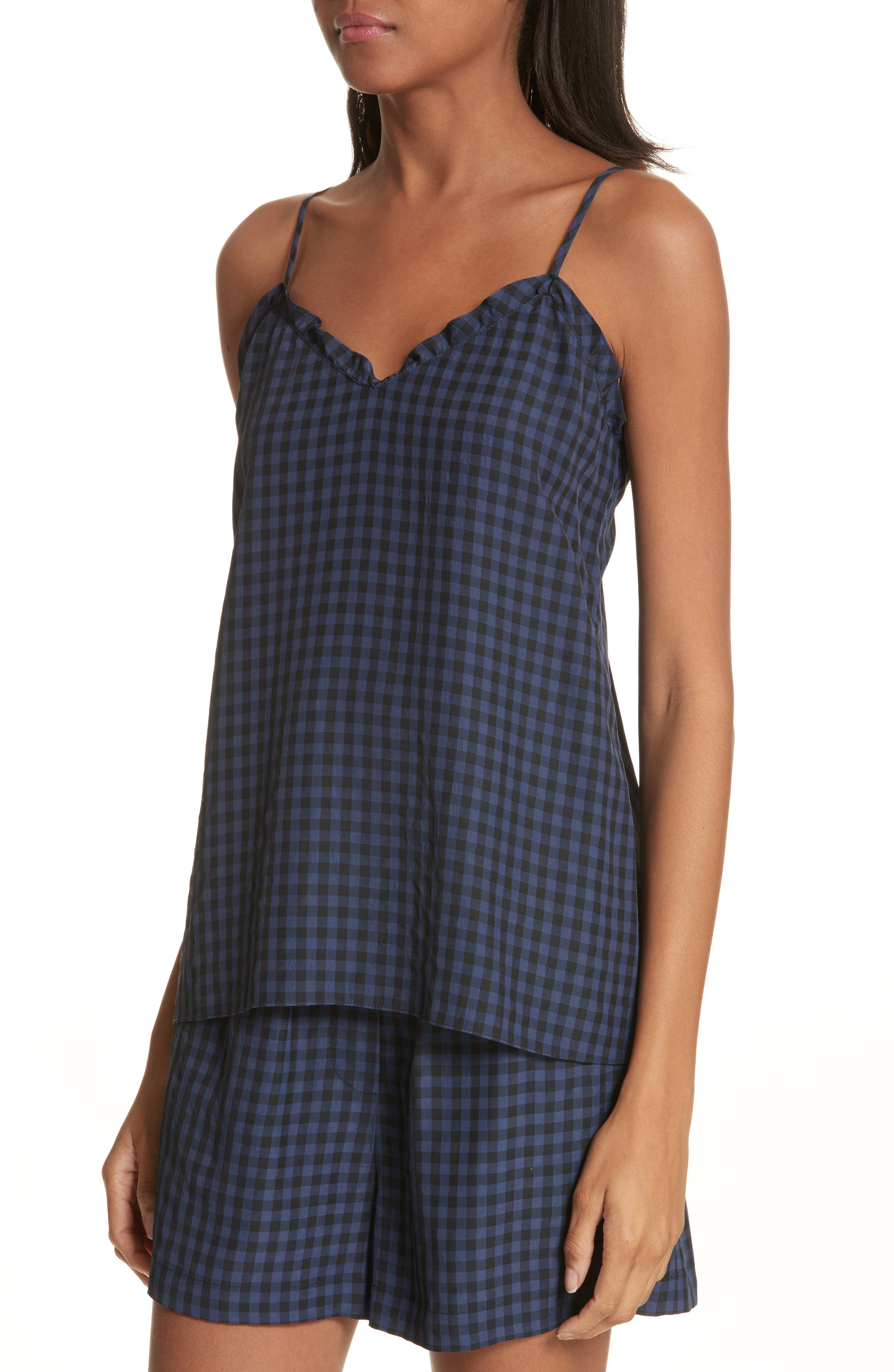 Ruffled Gingham Camisole,                             Alternate thumbnail 4, color,                             Navy Multi
