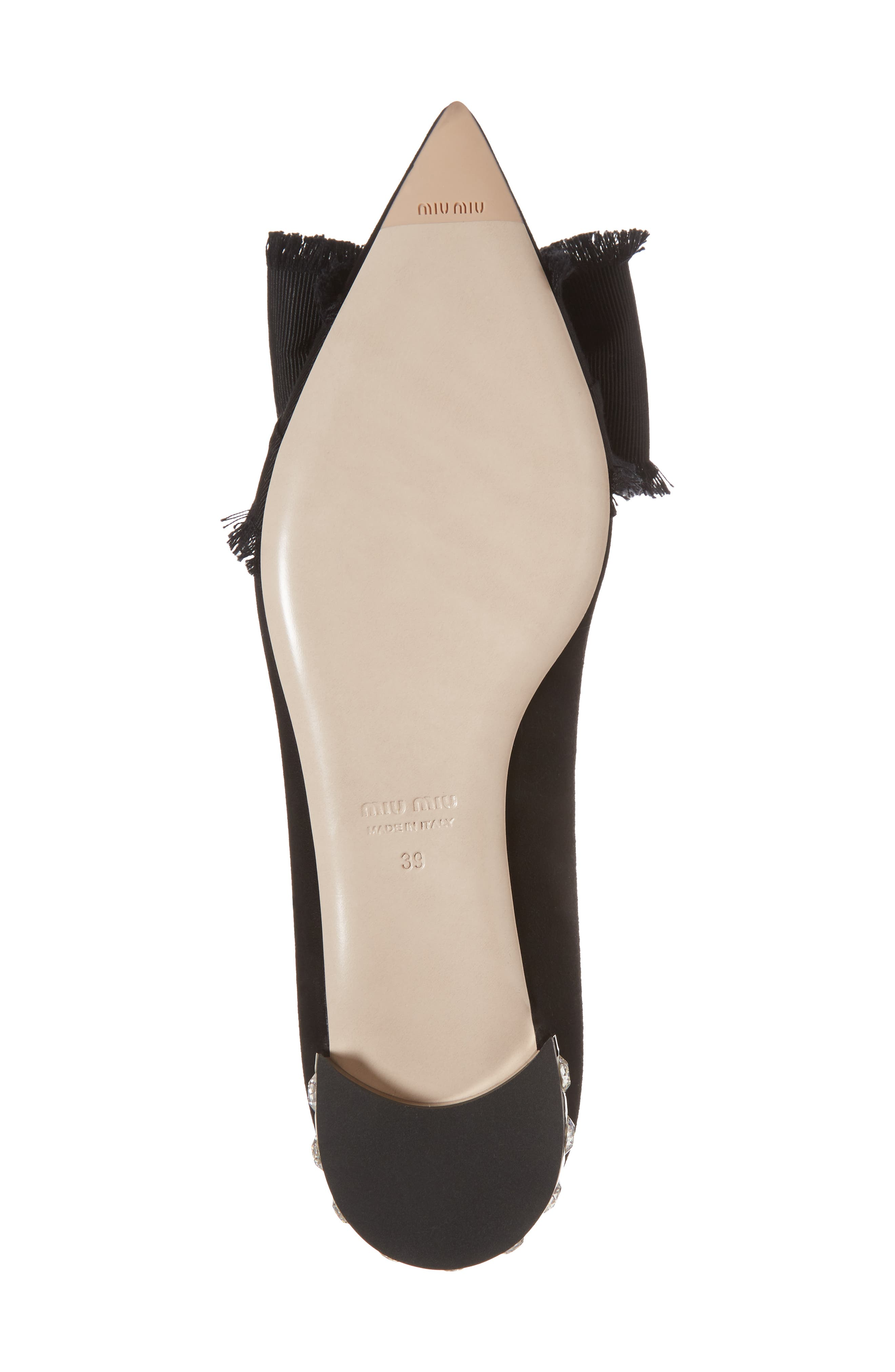 Embellished Heel Bow Flat,                             Alternate thumbnail 6, color,                             Black