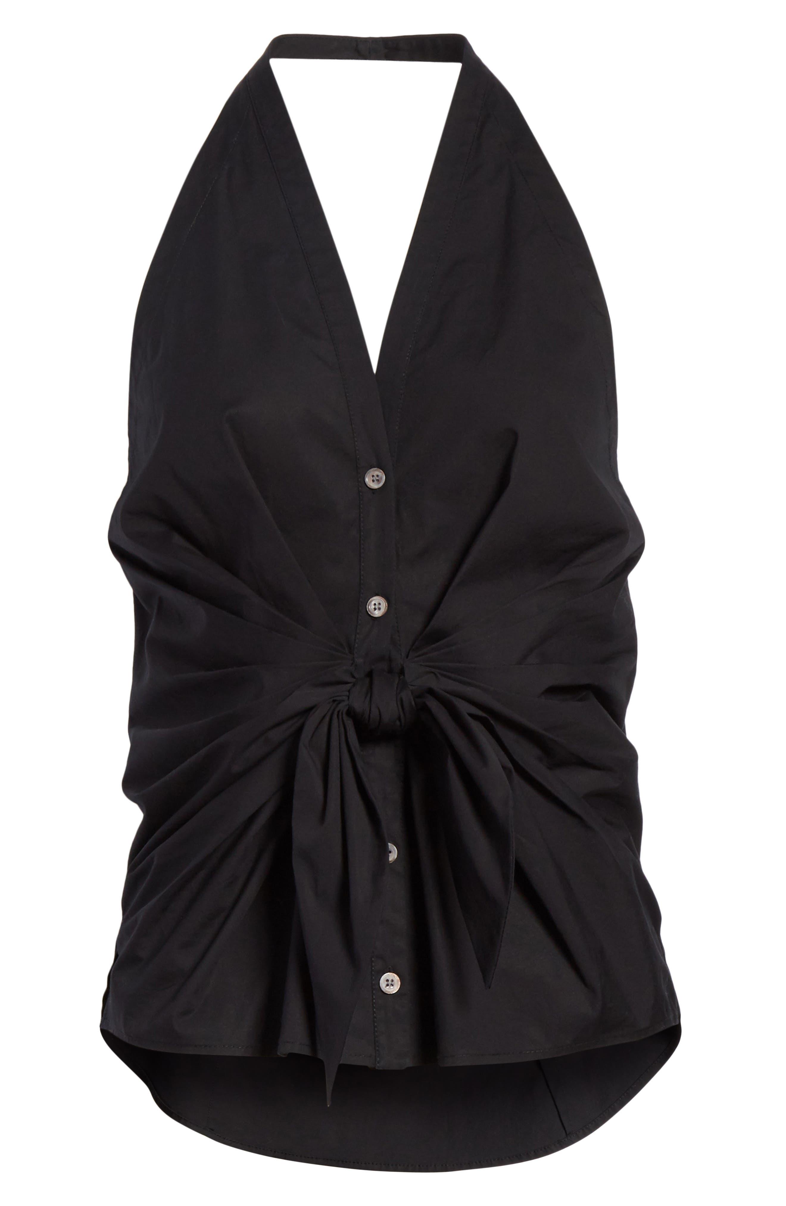 Vea Stretch Cotton Halter Top,                             Alternate thumbnail 6, color,                             Black