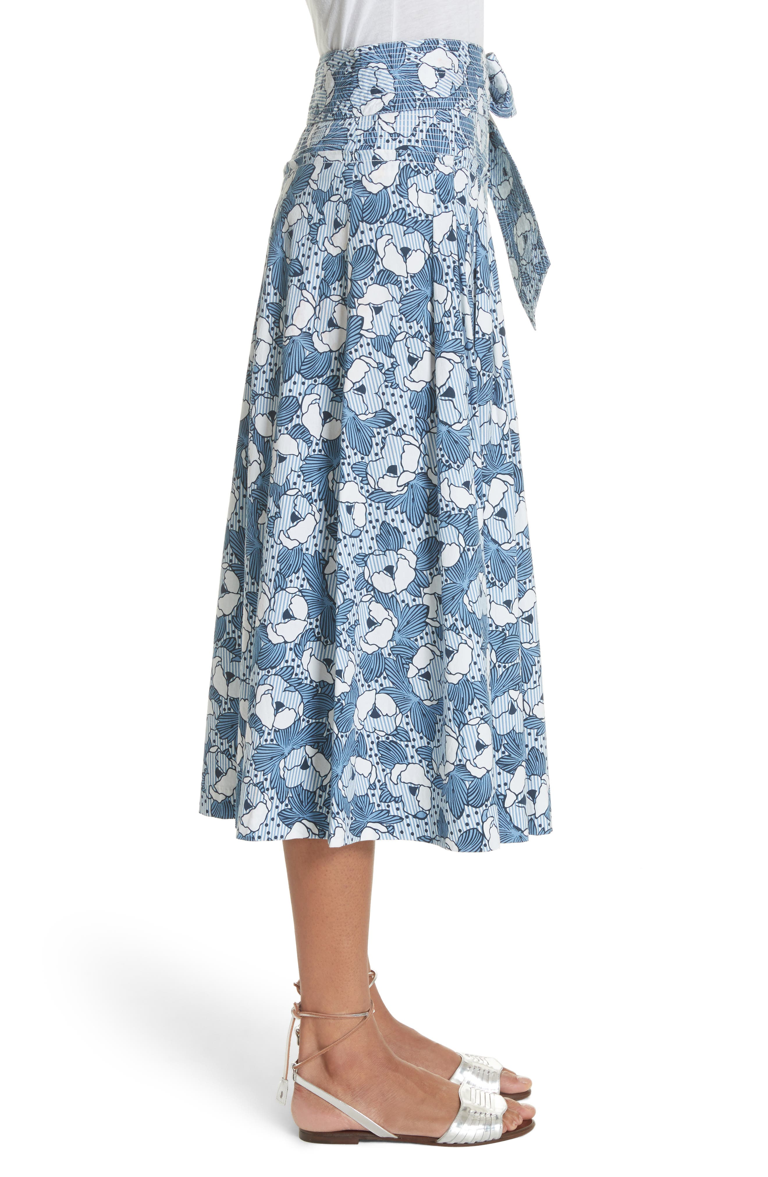 Caralina Floral Print Midi Skirt,                             Alternate thumbnail 3, color,                             Blue/ White