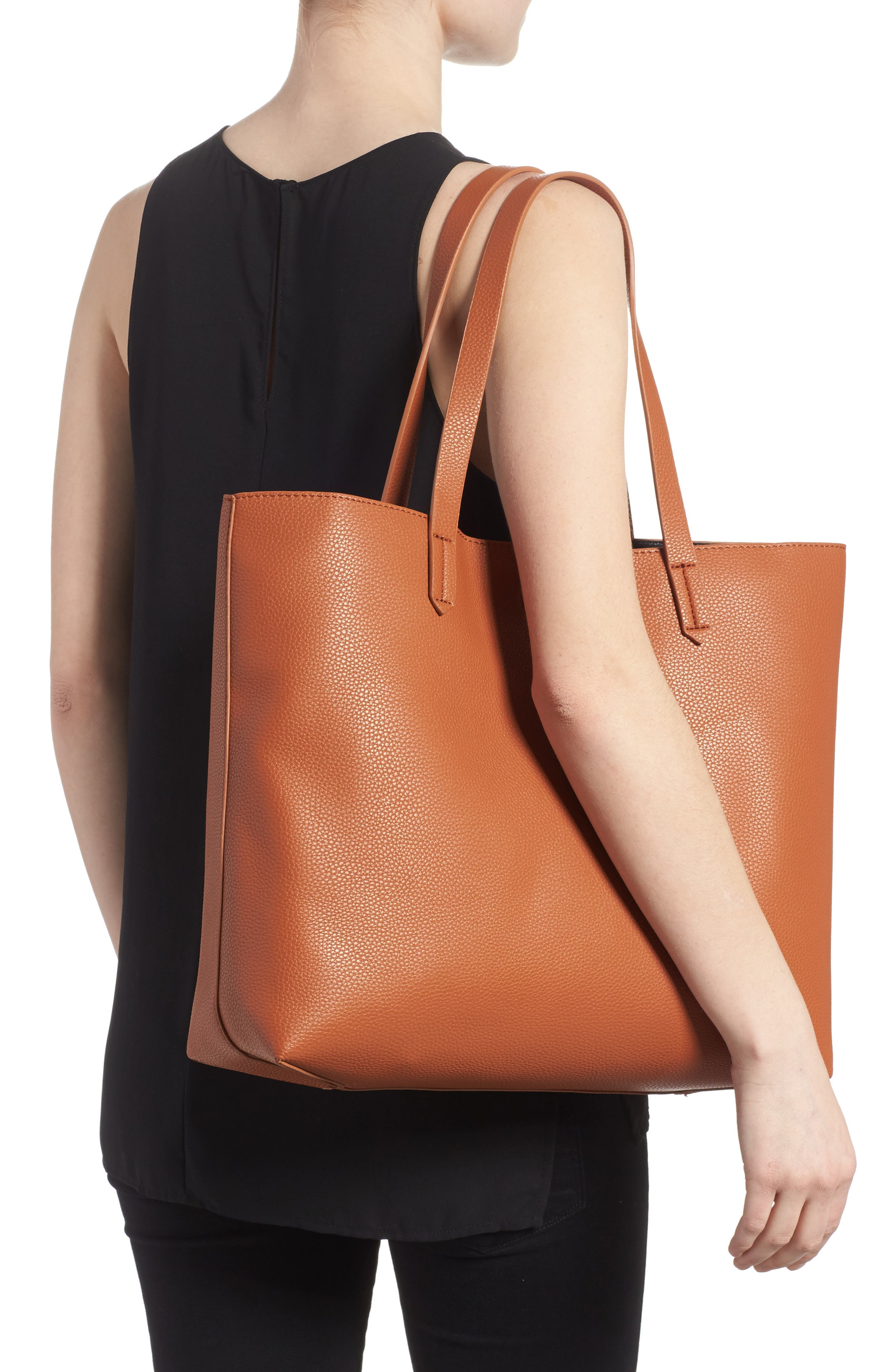 Contrast Lining Faux Leather Tote,                             Alternate thumbnail 2, color,                             Cognac