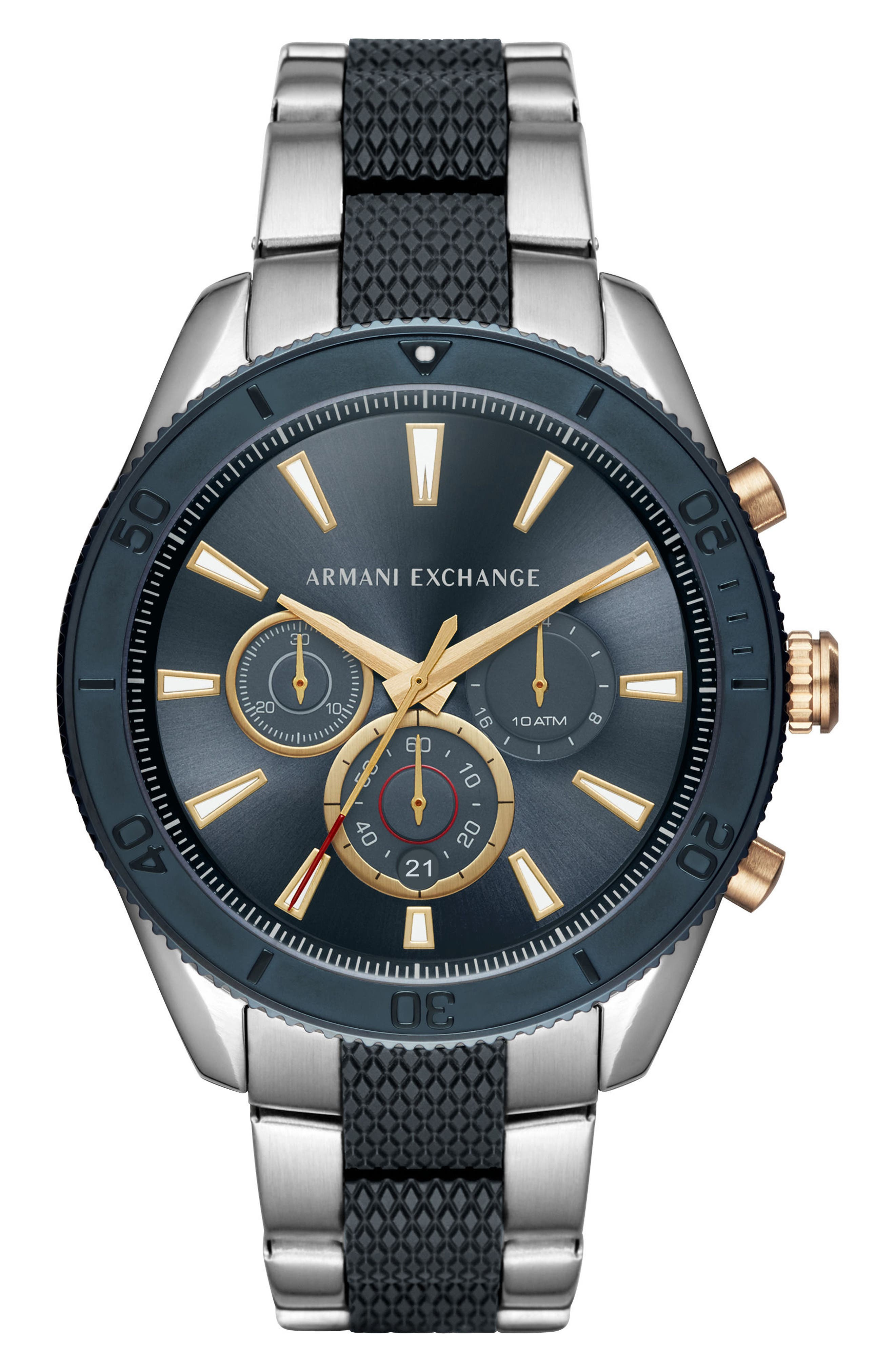 Chronograph Bracelet Watch, 46mm,                             Main thumbnail 1, color,                             Navy/ Stainless Steel