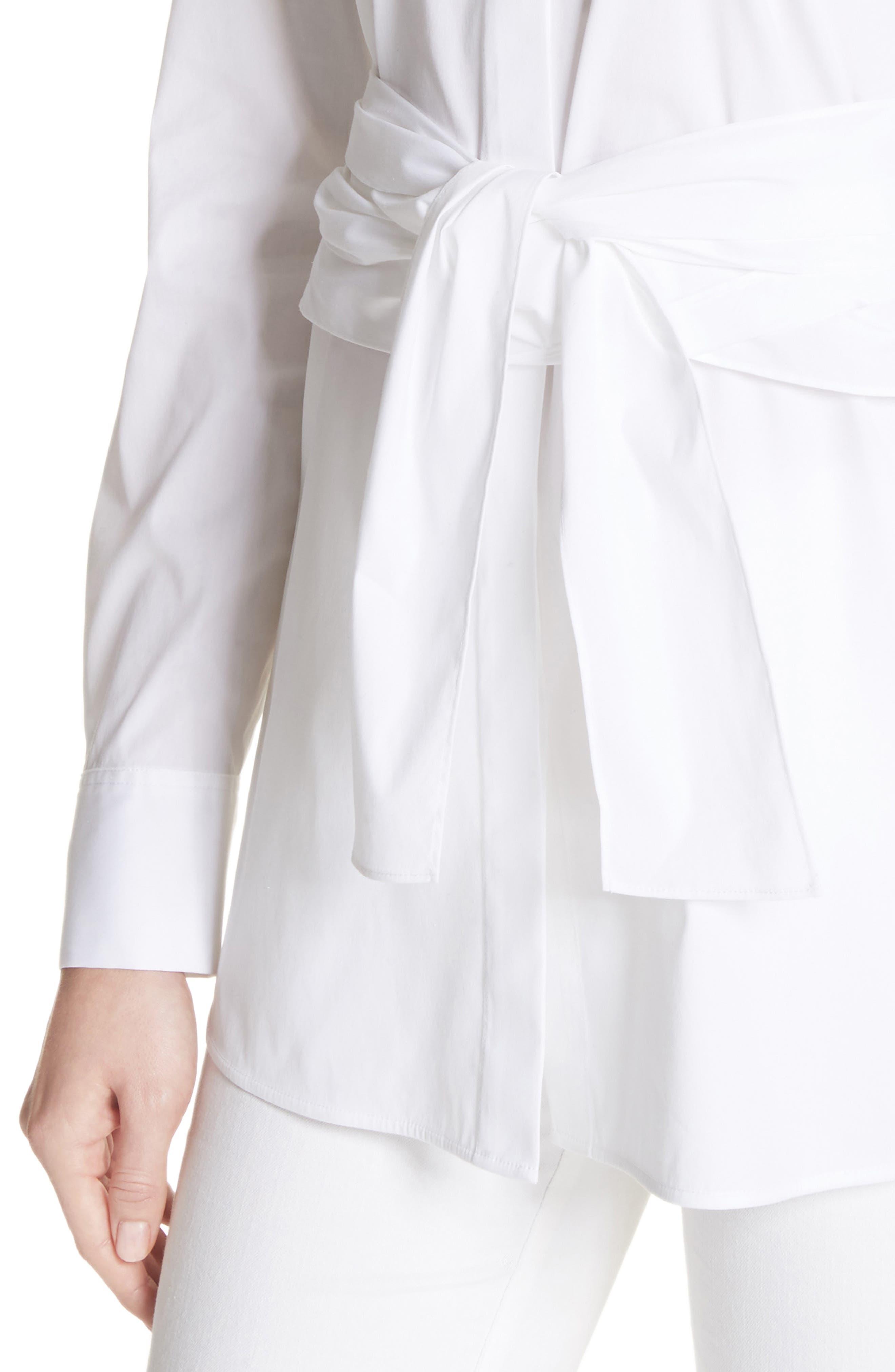 Cordelia Stretch Blouse,                             Alternate thumbnail 4, color,                             White