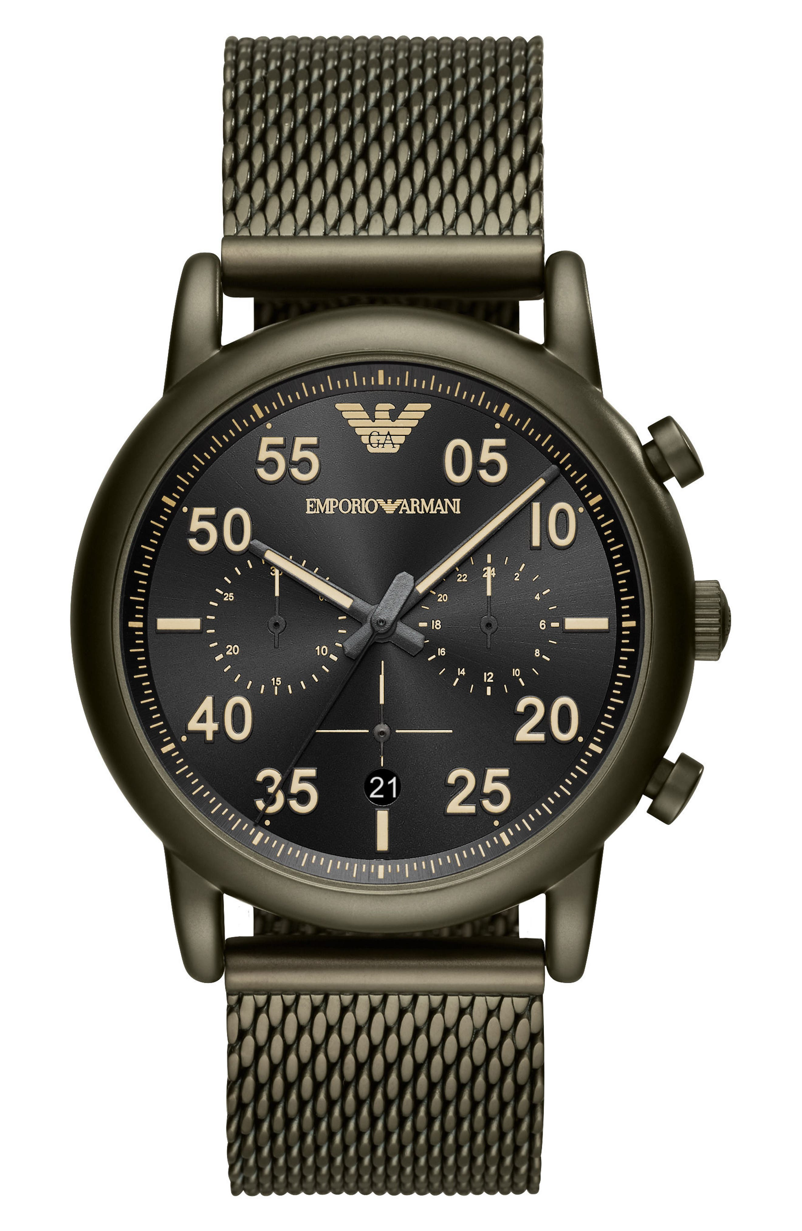 Chronograph Mesh Strap Watch, 43mm,                         Main,                         color, Black/ Olive