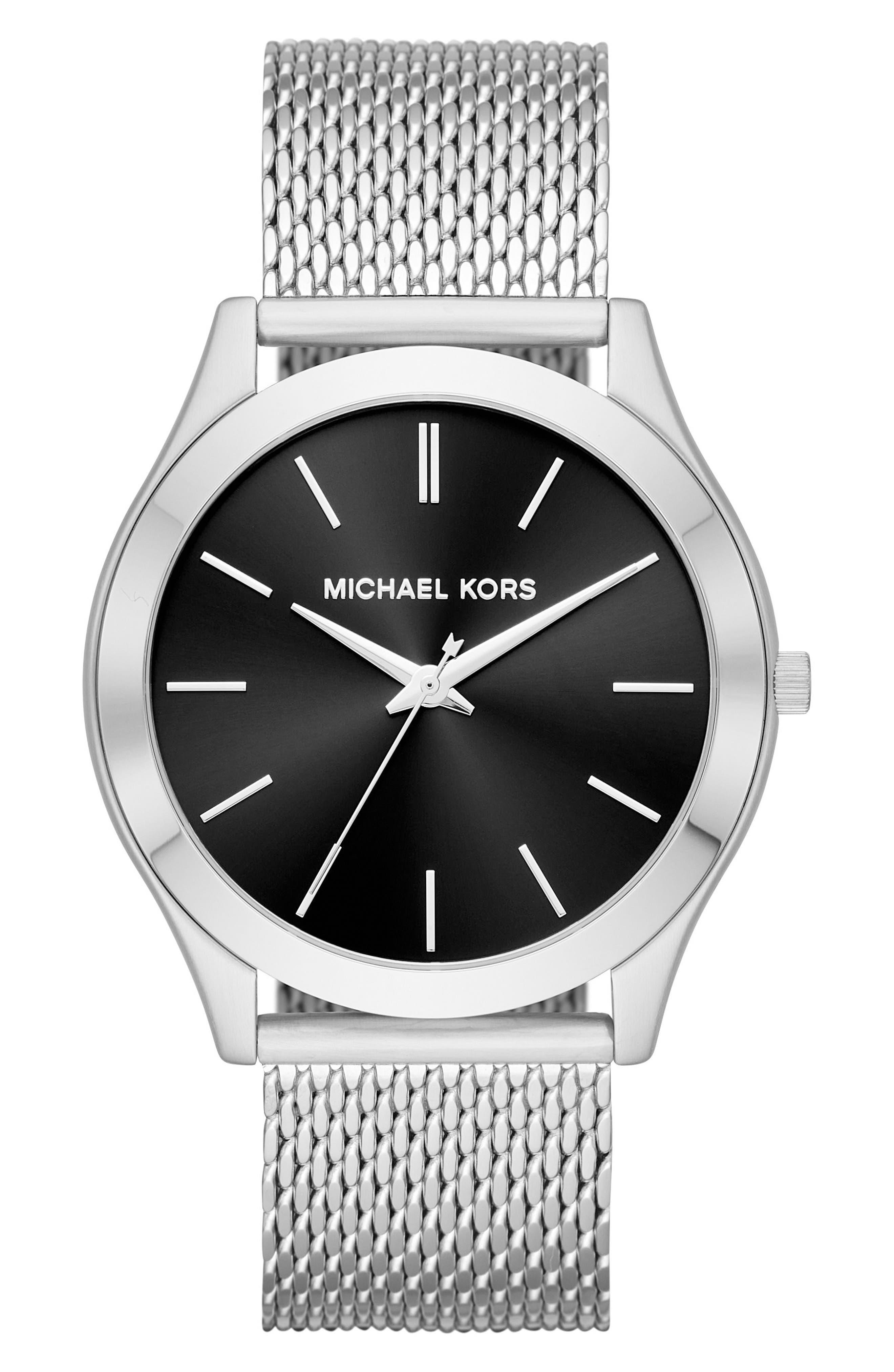 Main Image - Michael Kors Slim Runway Mesh Strap Watch, 44mm