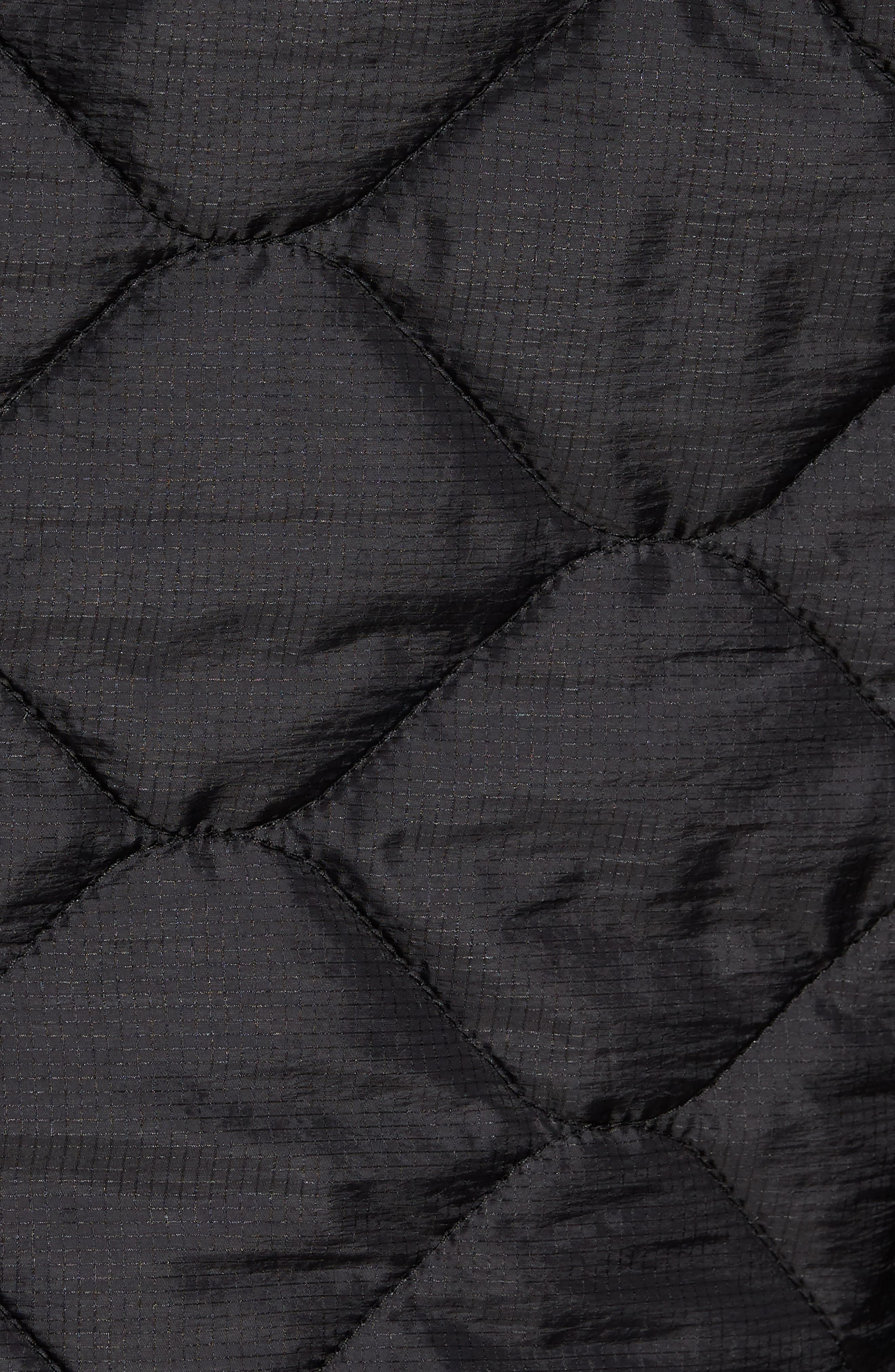 Quilted Slim Fit Hooded Jacket,                             Alternate thumbnail 5, color,                             Black
