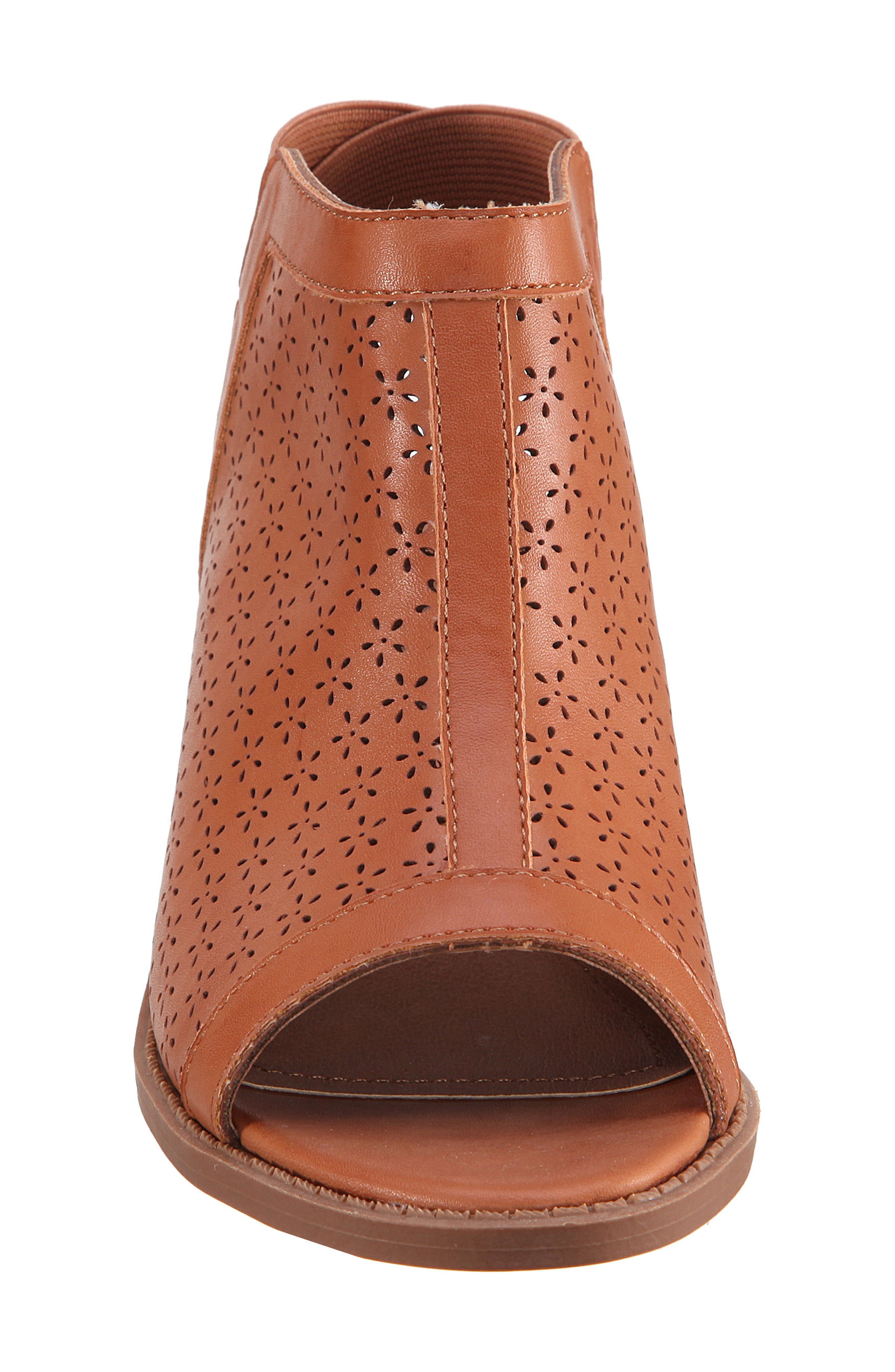 Maya Perforated Peep Toe Bootie,                             Alternate thumbnail 4, color,                             Tan Burnished