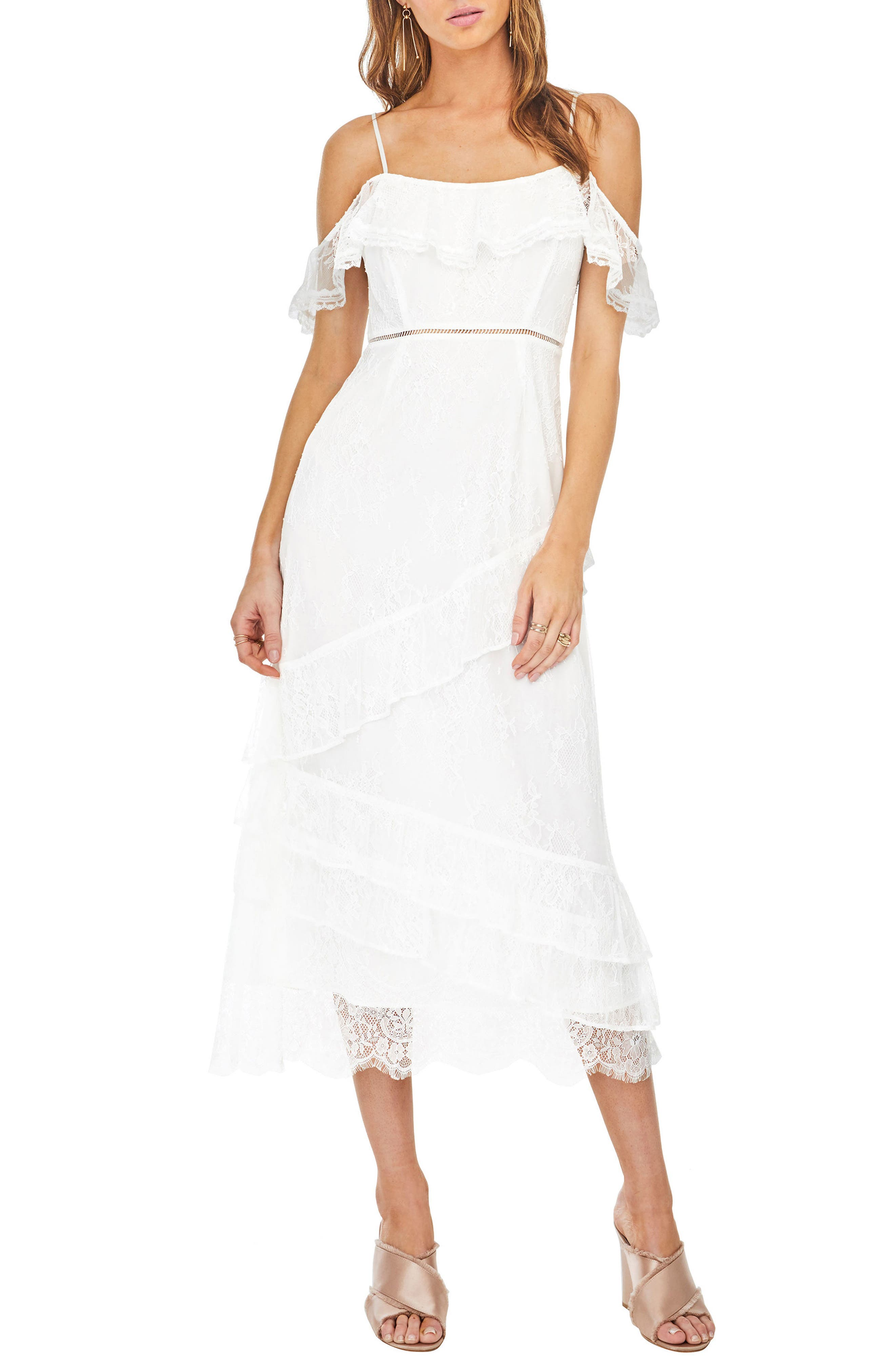 Marguerite Off the Shoulder Midi Dress,                         Main,                         color, White