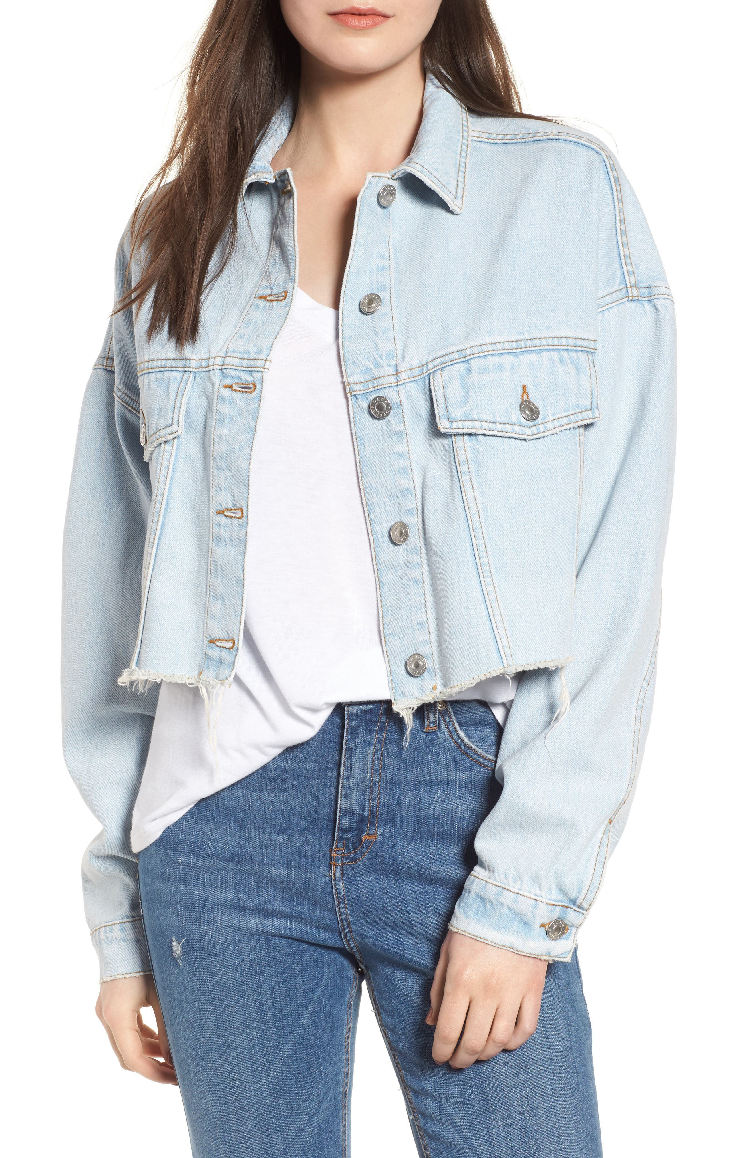 Topshop Bleached Cutoff Denim Jacket