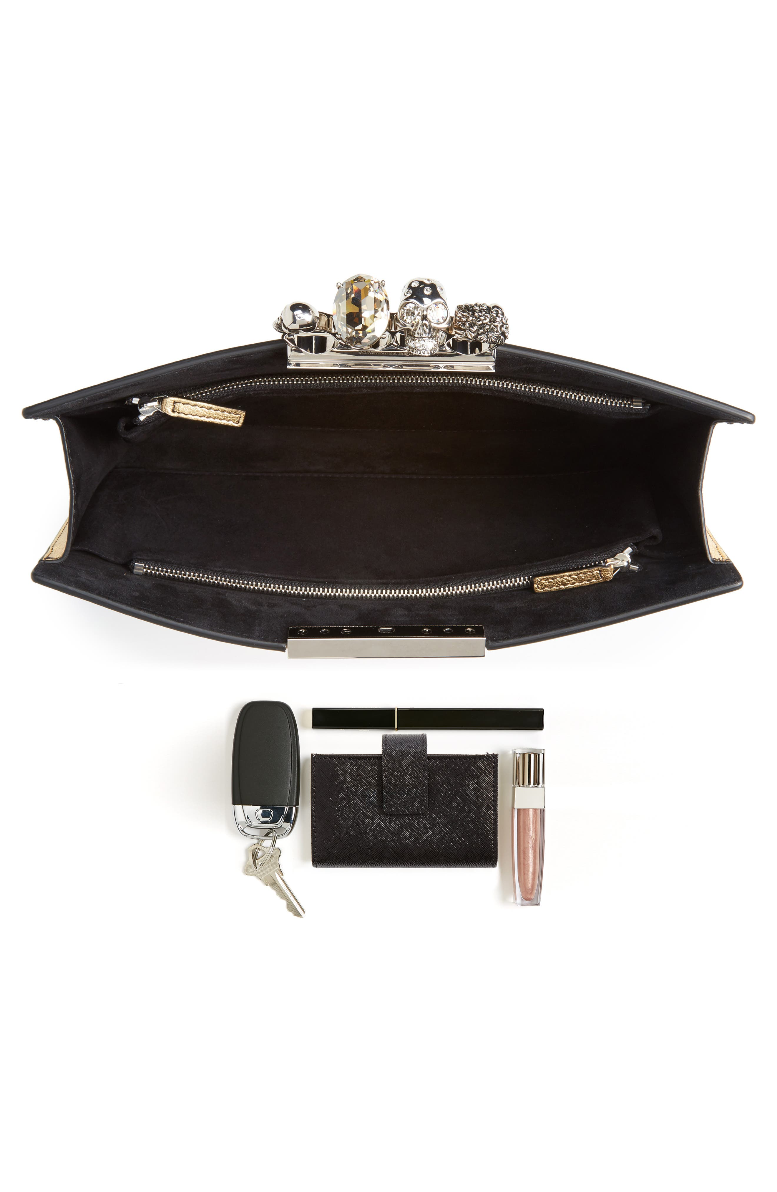 Alternate Image 7  - Alexander McQueen Knuckle Clasp Metallic Leather Clutch