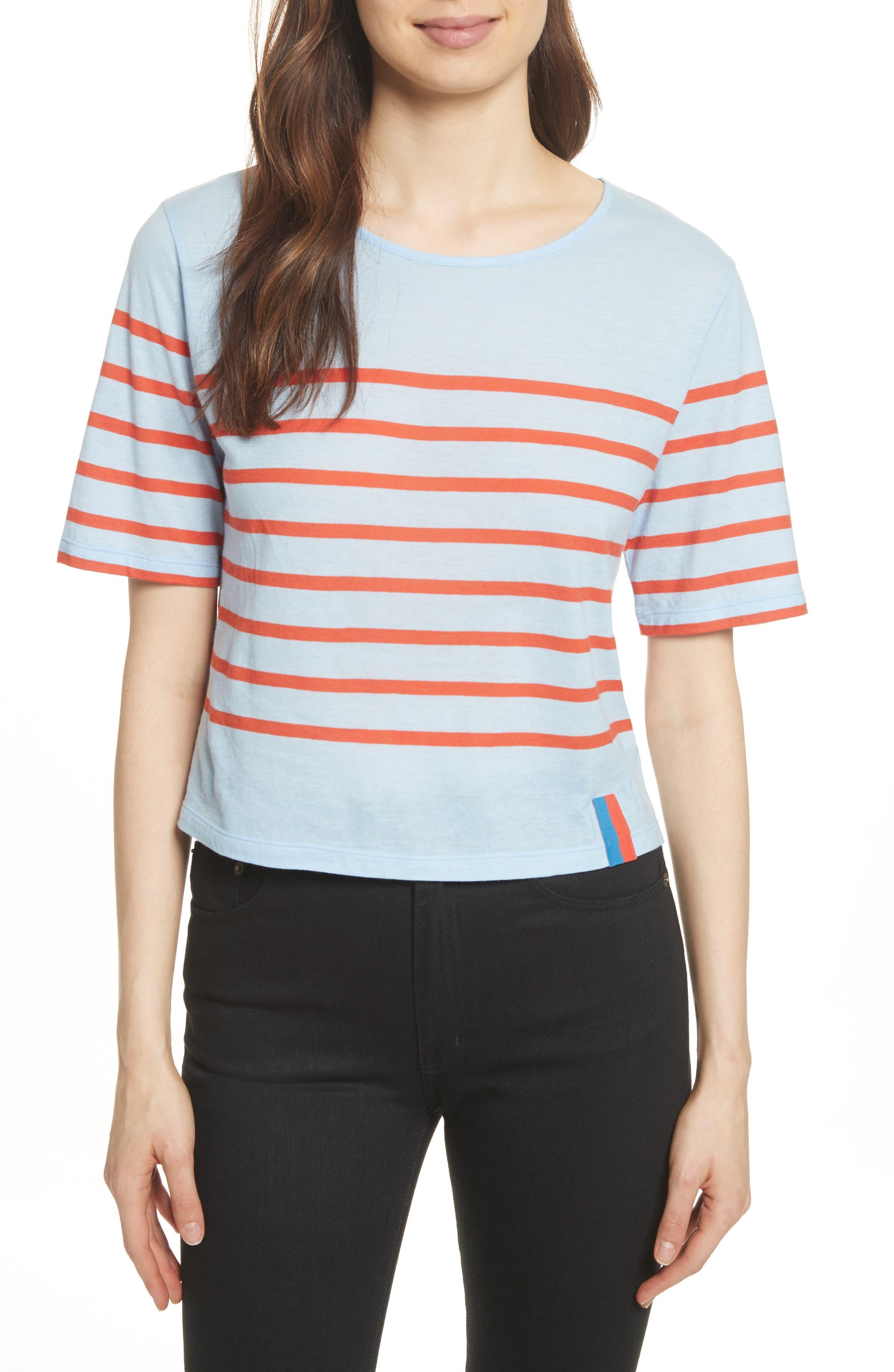 The Crop Stripe Tee,                         Main,                         color, Sky/ Poppy