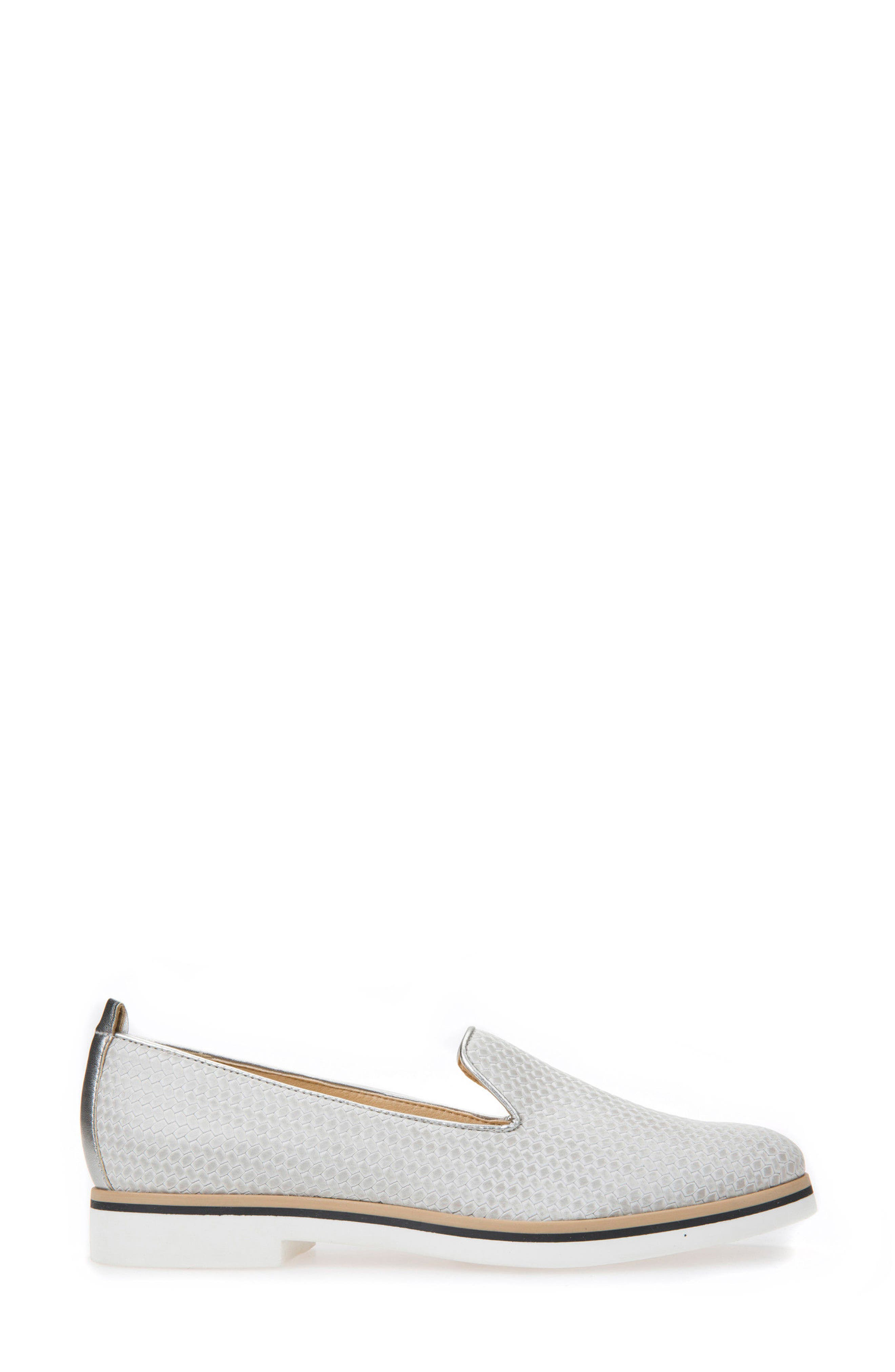 Janalee Woven Loafer,                             Alternate thumbnail 3, color,                             Light Grey Leather