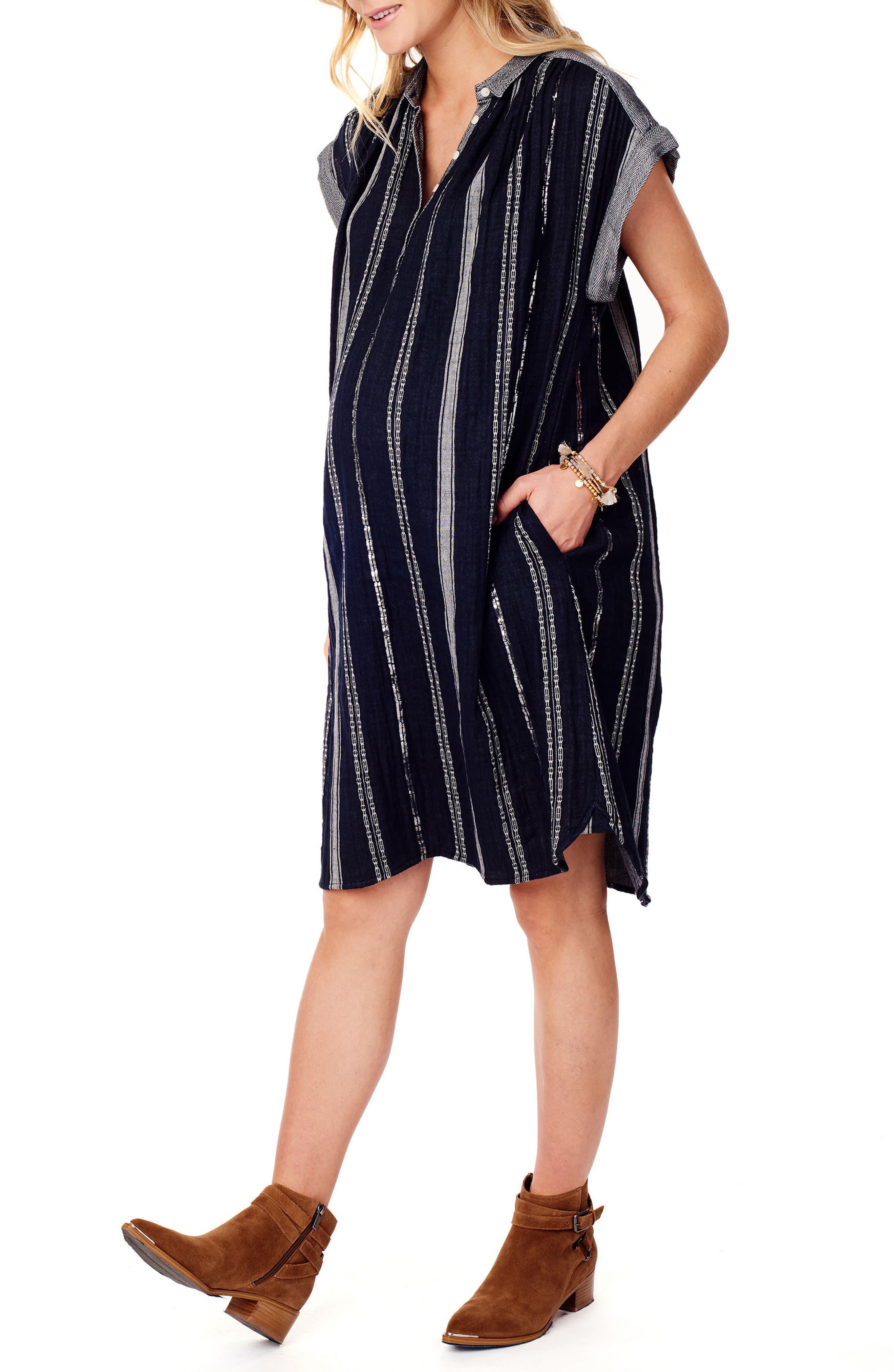 Ingrid & Isabel Maternity Shift Dress,                             Alternate thumbnail 3, color,                             True Navy Lurex Stripe