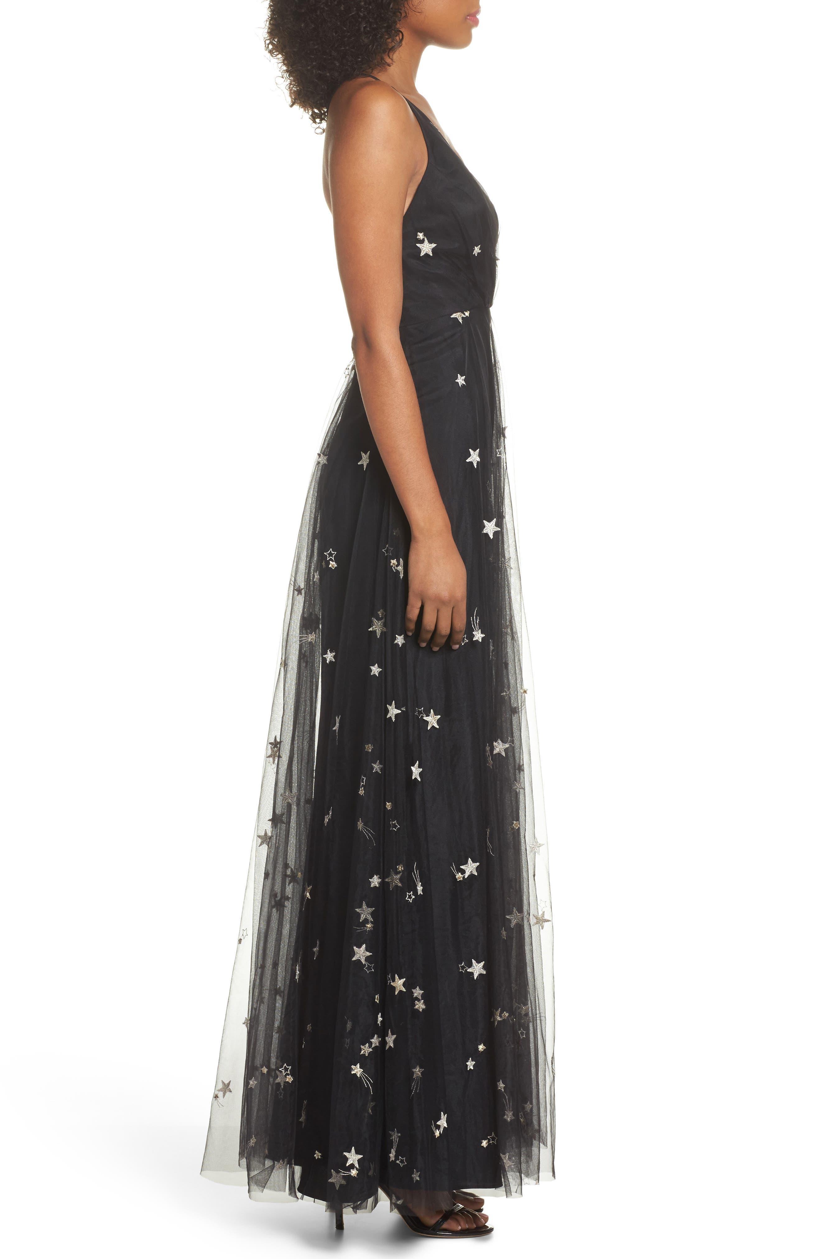 Chelsea Starry Night Embroidered Halter Maxi Dress,                             Alternate thumbnail 3, color,                             Black/ Metallic