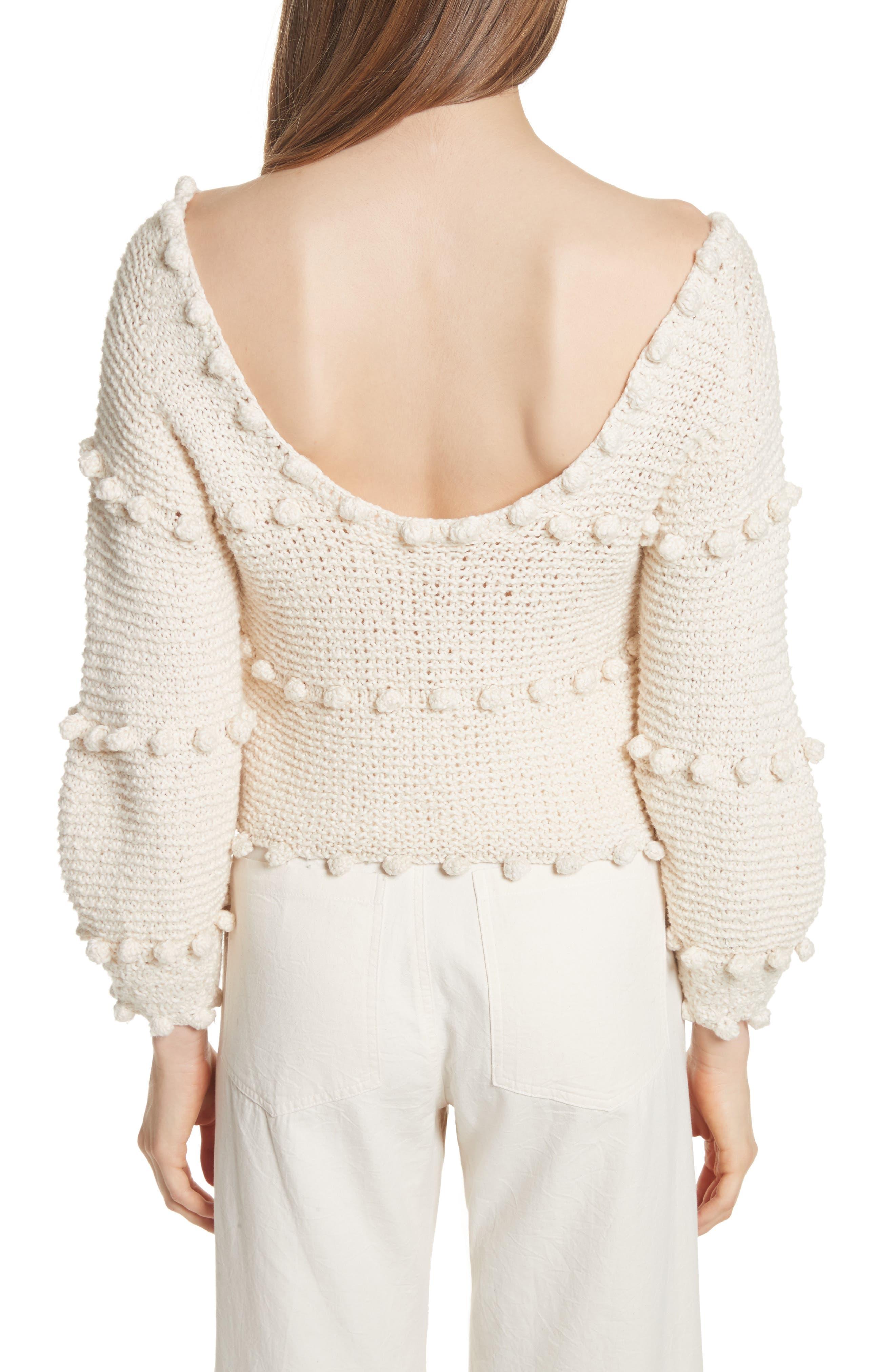 Hyacinth Pompom Stripe Sweater,                             Alternate thumbnail 2, color,                             Natural