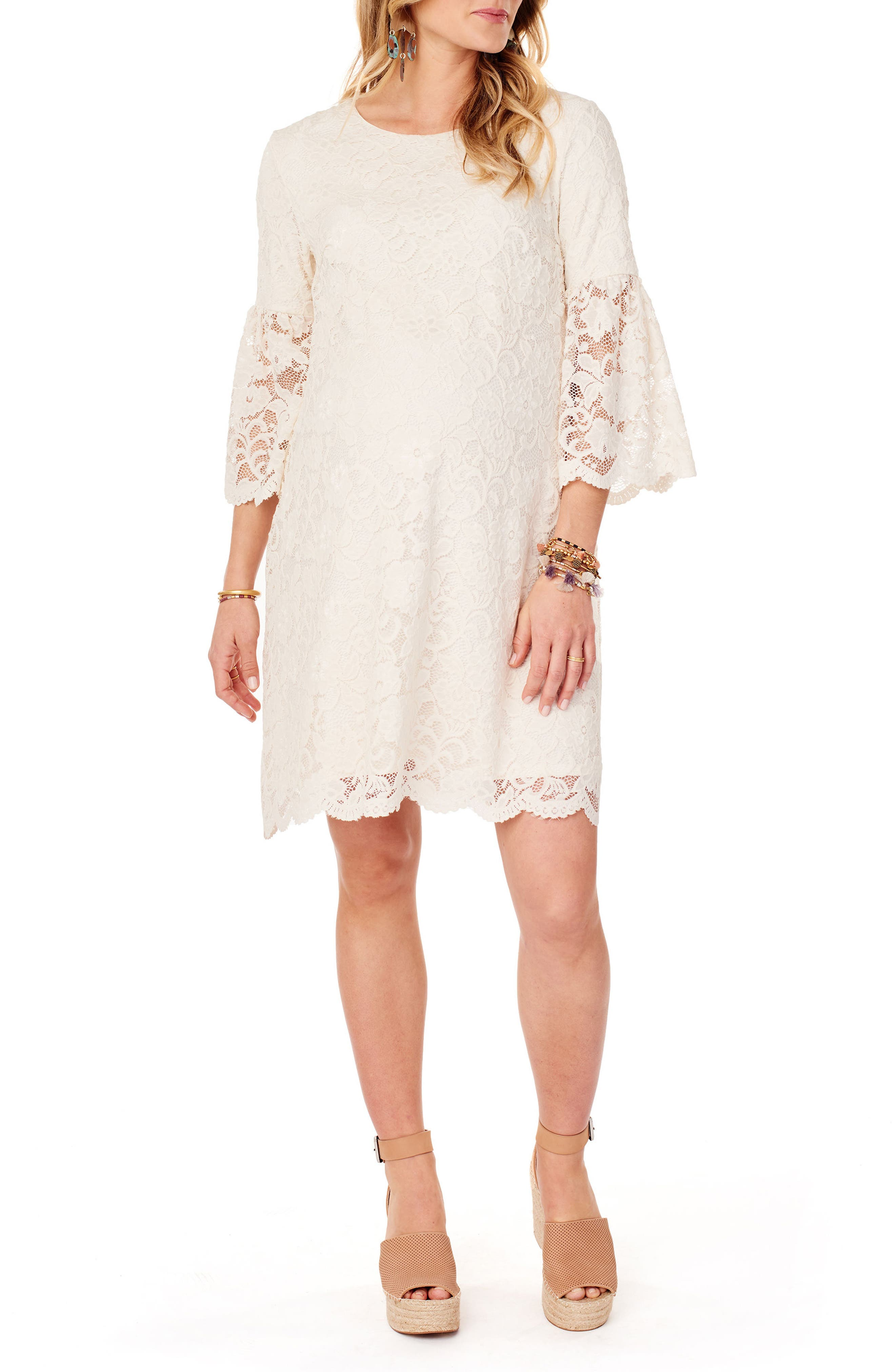 Lace Bell Sleeve Maternity Dress,                             Main thumbnail 1, color,                             Ivory