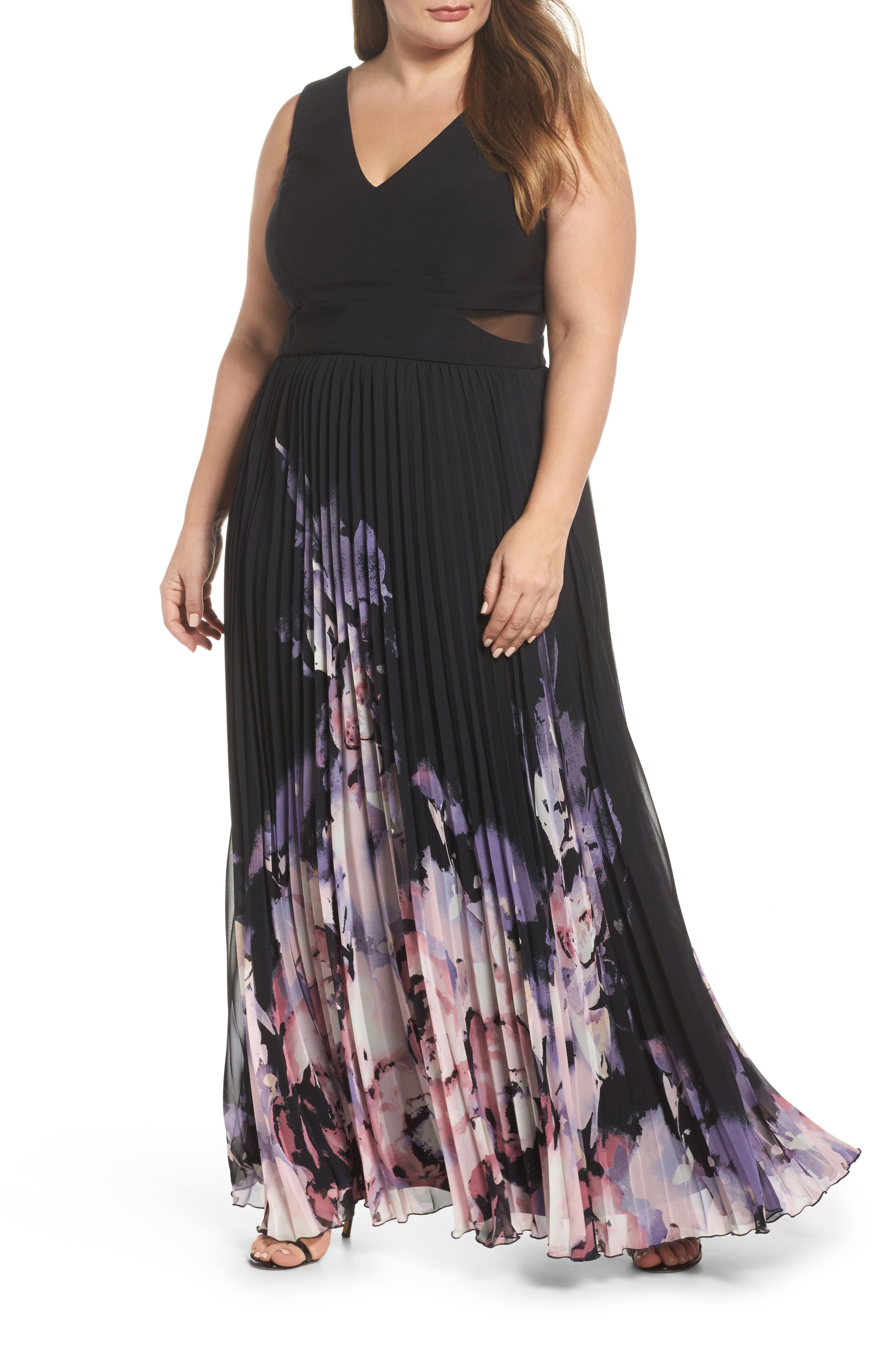 Pleated Chiffon Gown,                         Main,                         color, Black/ Multi