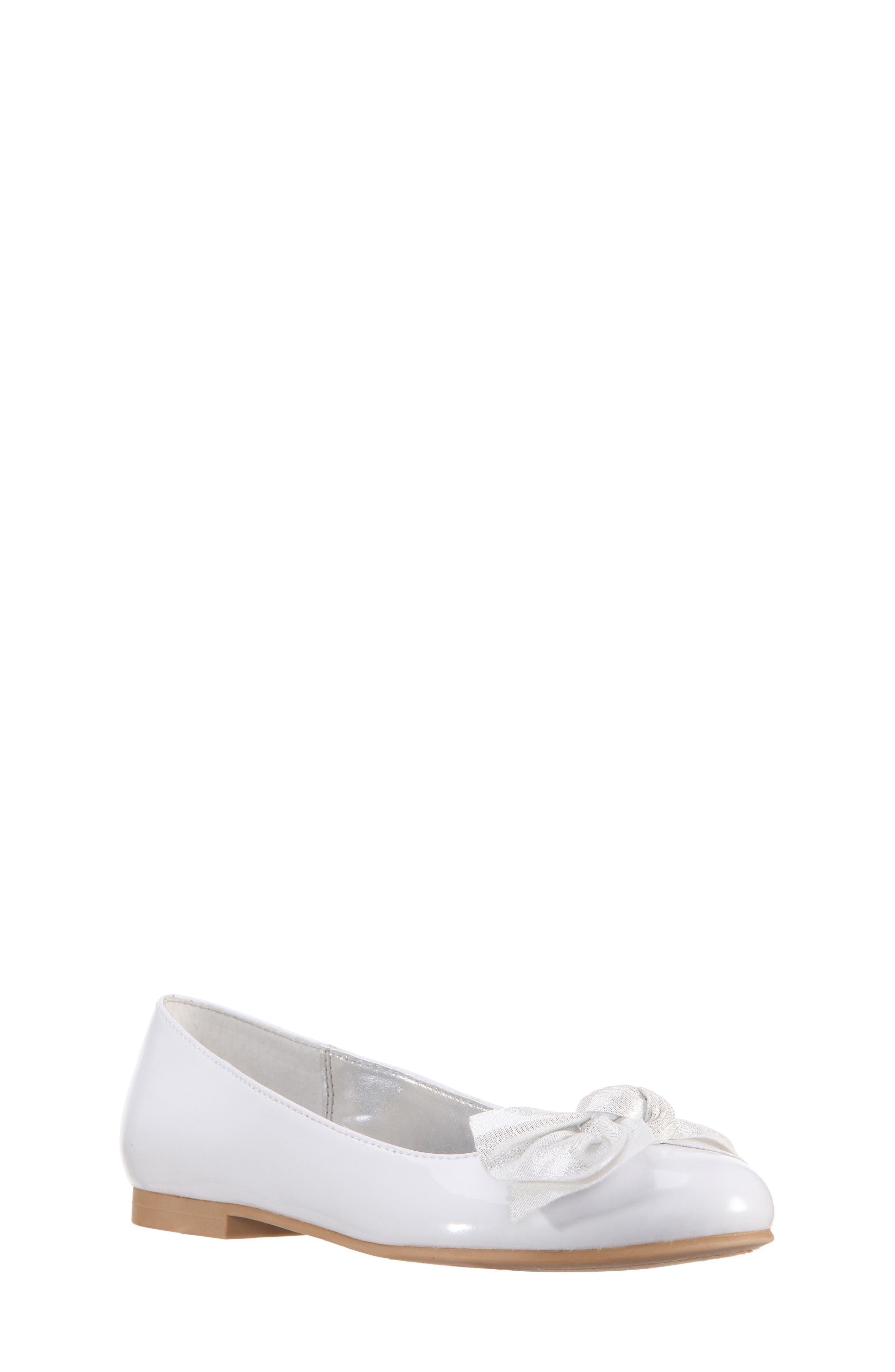 Katelyn Glitter Bow Metallic Ballet Flat,                             Main thumbnail 1, color,                             White Patent