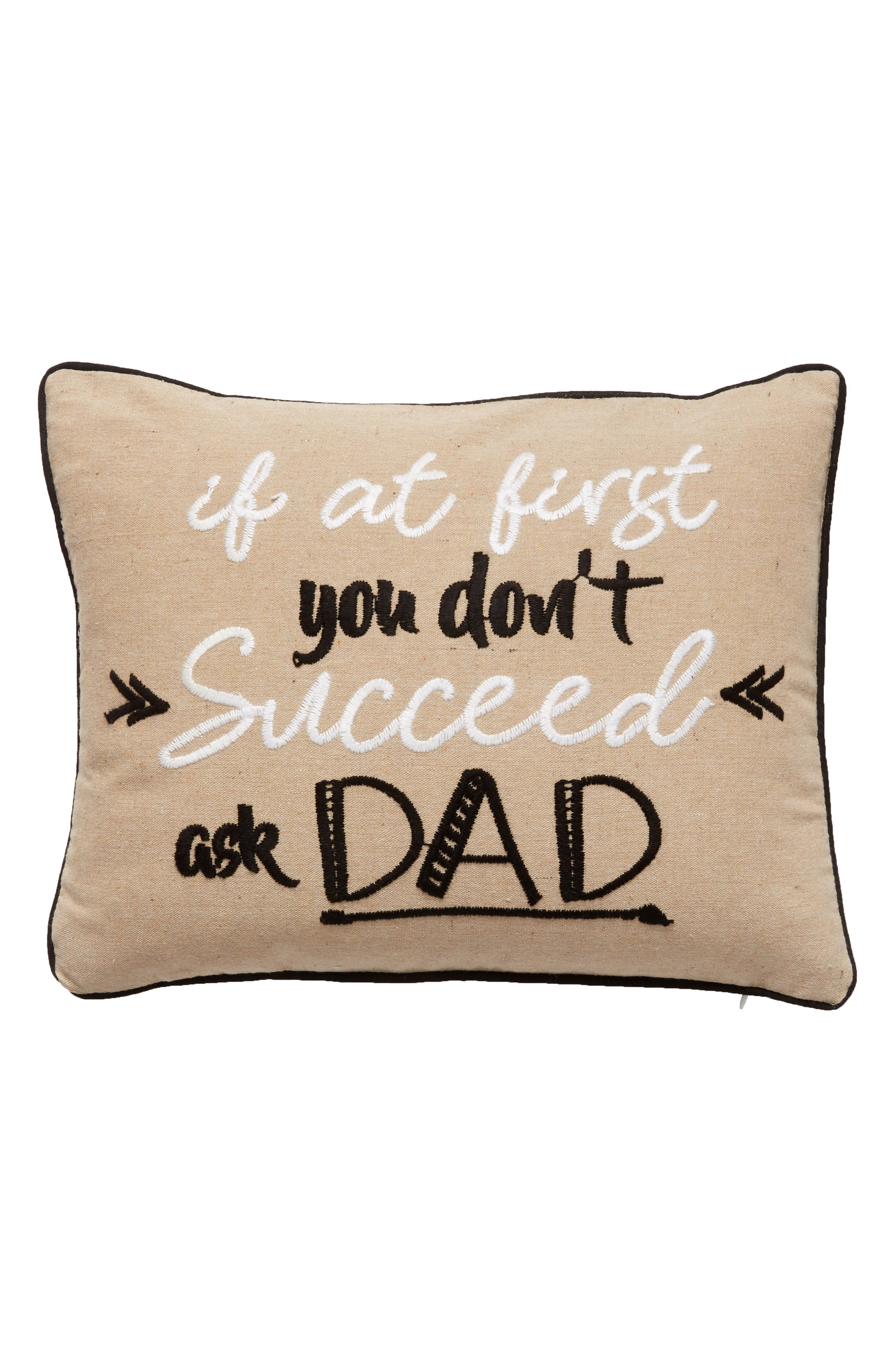 Ask Dad Accent Pillow,                         Main,                         color, Taupe