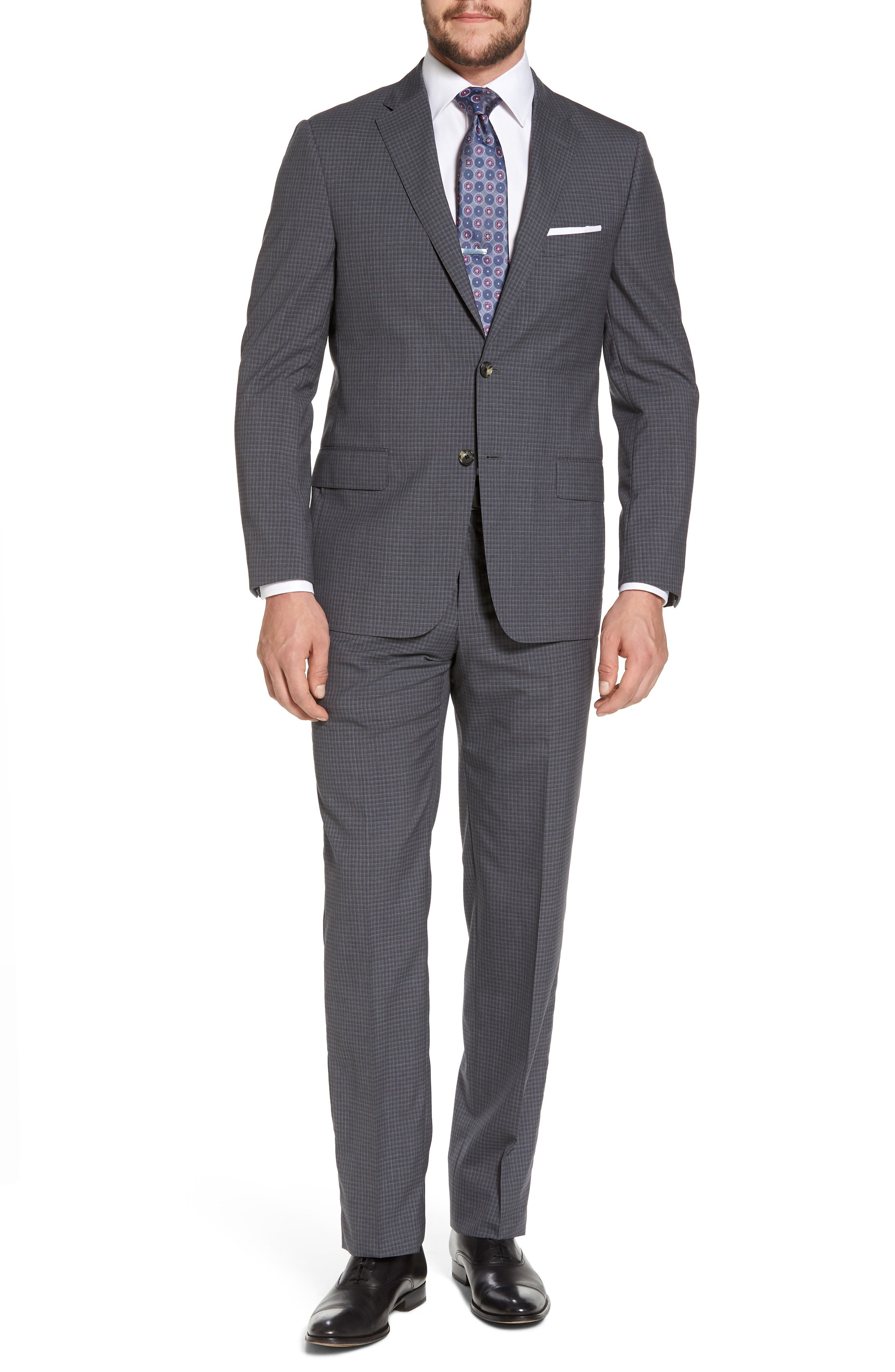 Classic B Fit Check Wool Suit,                         Main,                         color, Charcoal