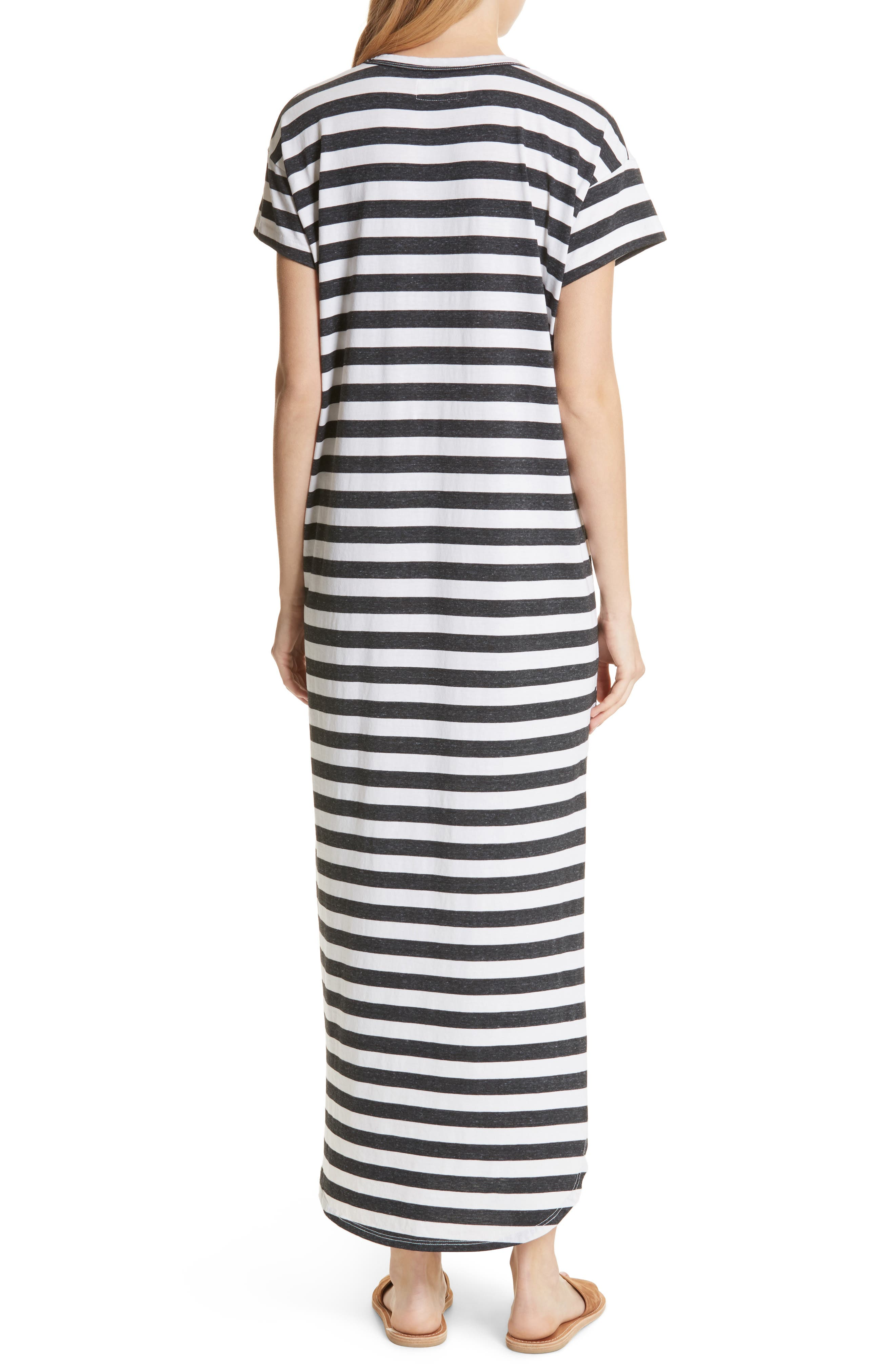 The Knotted Tee Dress,                             Alternate thumbnail 3, color,                             Charcoal Stripe