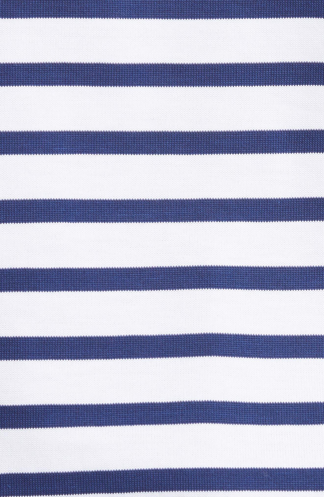 Bow Sleeve Stripe Tee,                             Alternate thumbnail 5, color,                             Blue