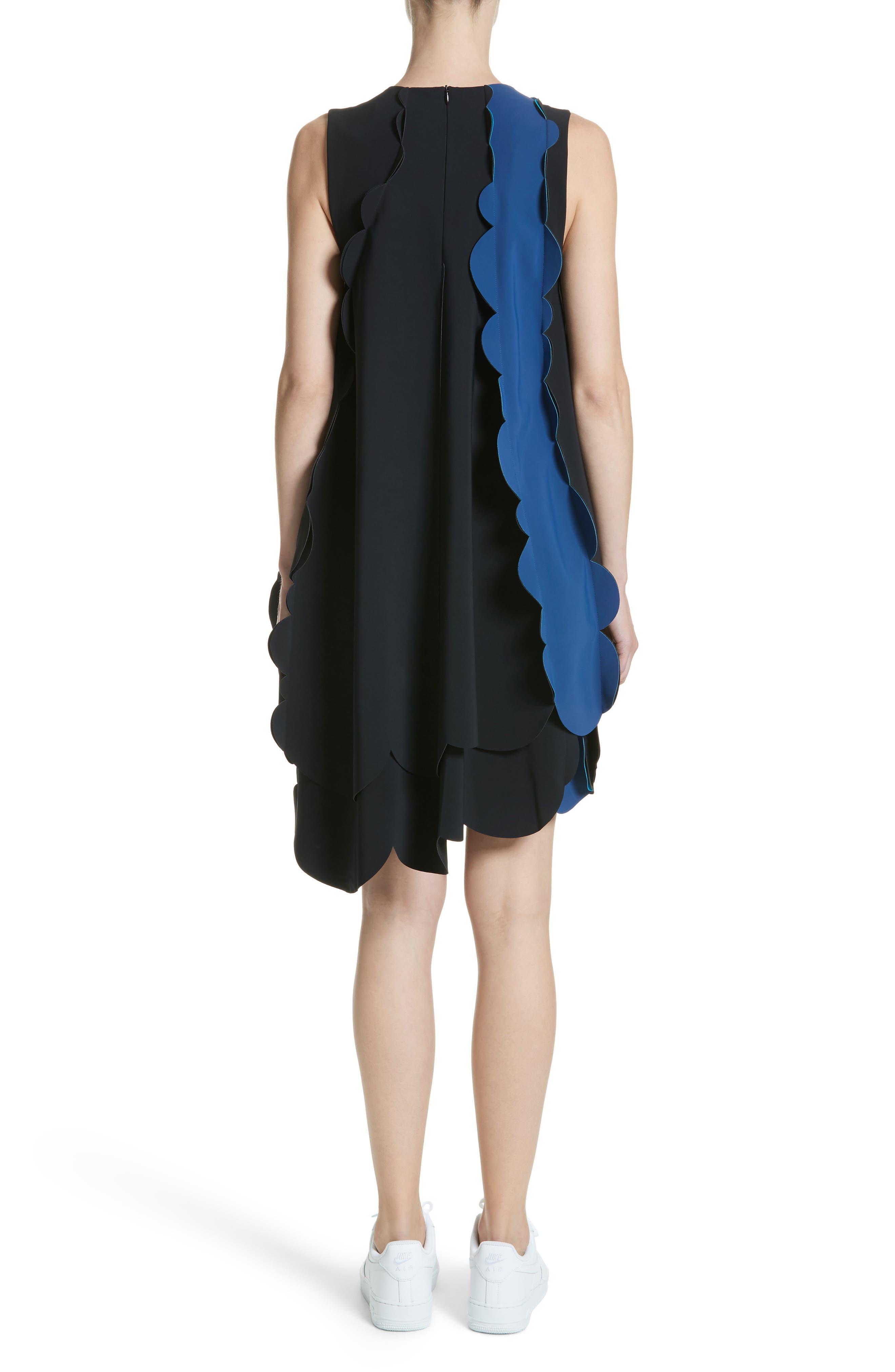 Scalloped Asymmetrical Minidress,                             Alternate thumbnail 2, color,                             Black/ Midnight Blue