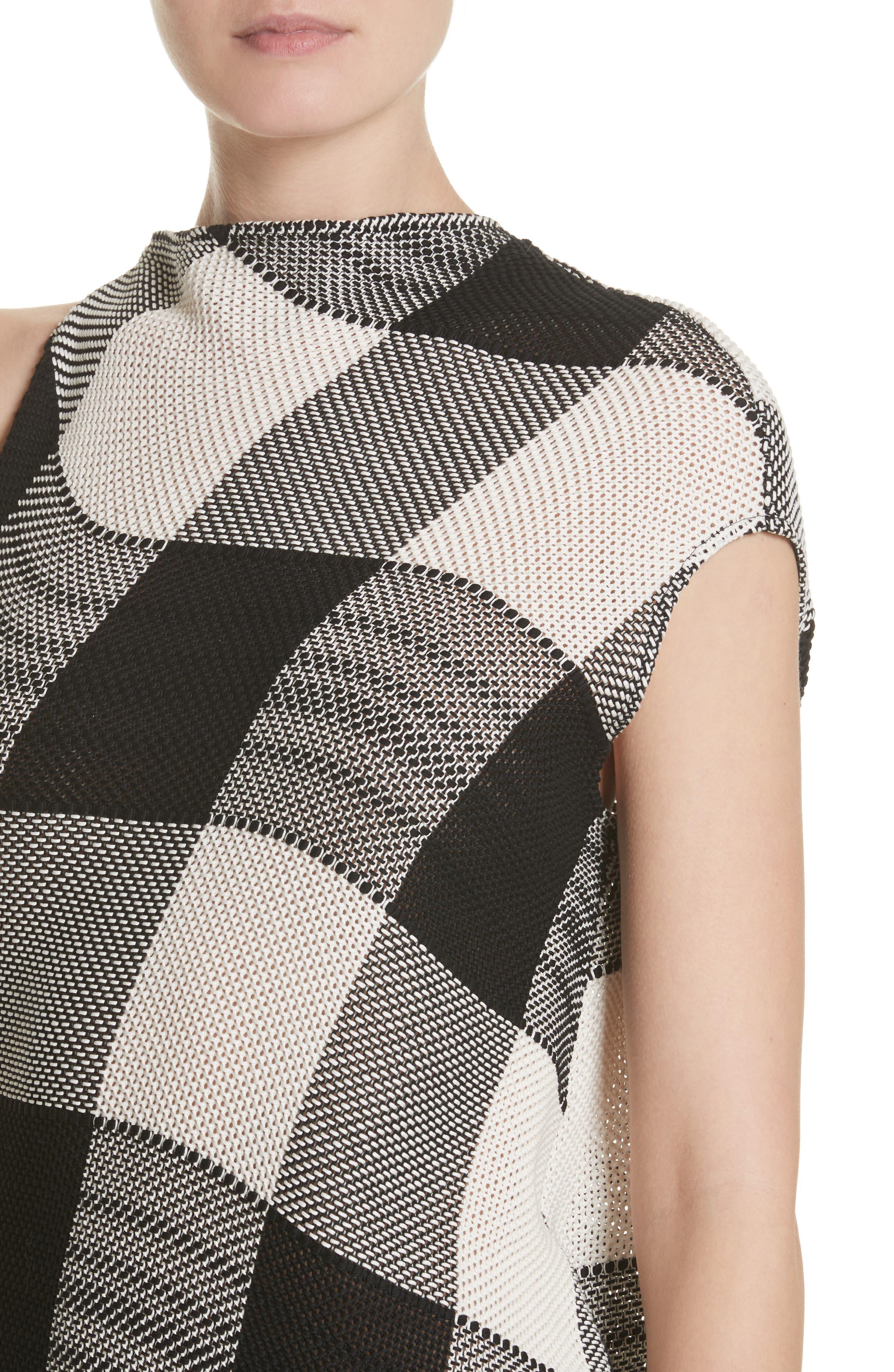 Marques'Almeida Asymmetrical Gingham Sheath Dress,                             Alternate thumbnail 4, color,                             Black/White