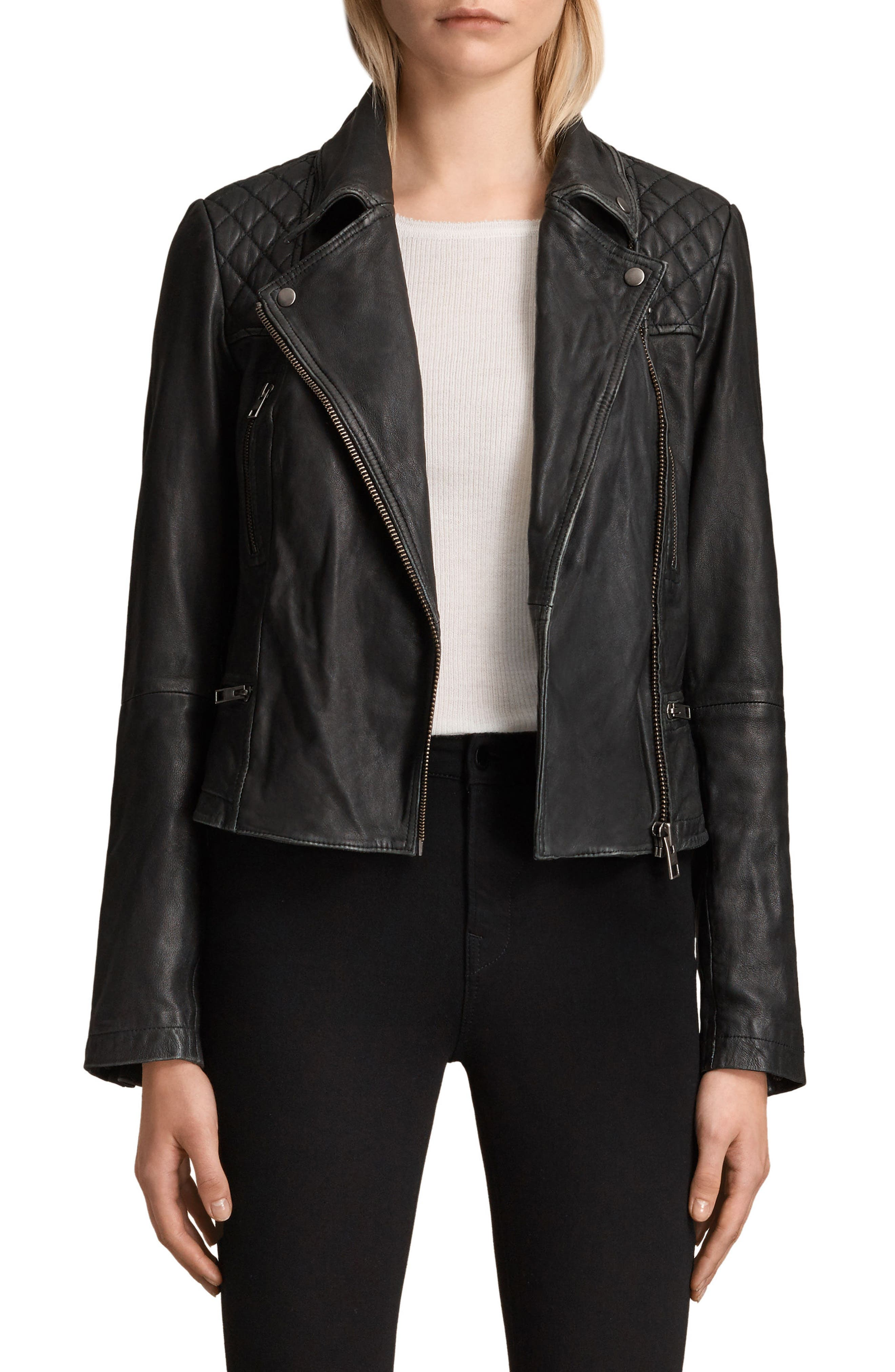 Cargo Leather Biker Jacket,                             Main thumbnail 1, color,                             Black/ Grey
