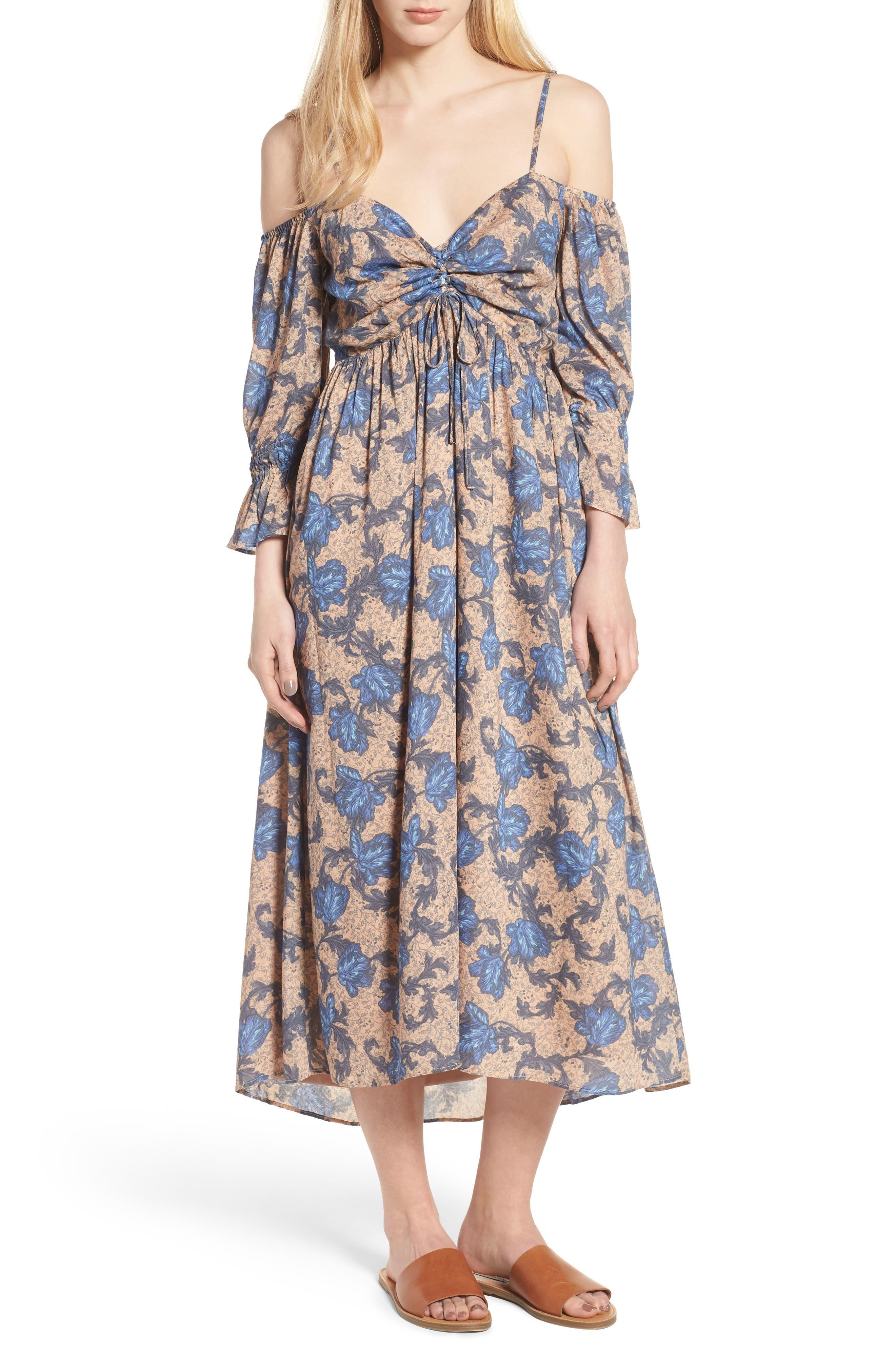 Smocked Back Cold Shoulder Dress,                         Main,                         color, Beige Maple Wallpaper Ivy