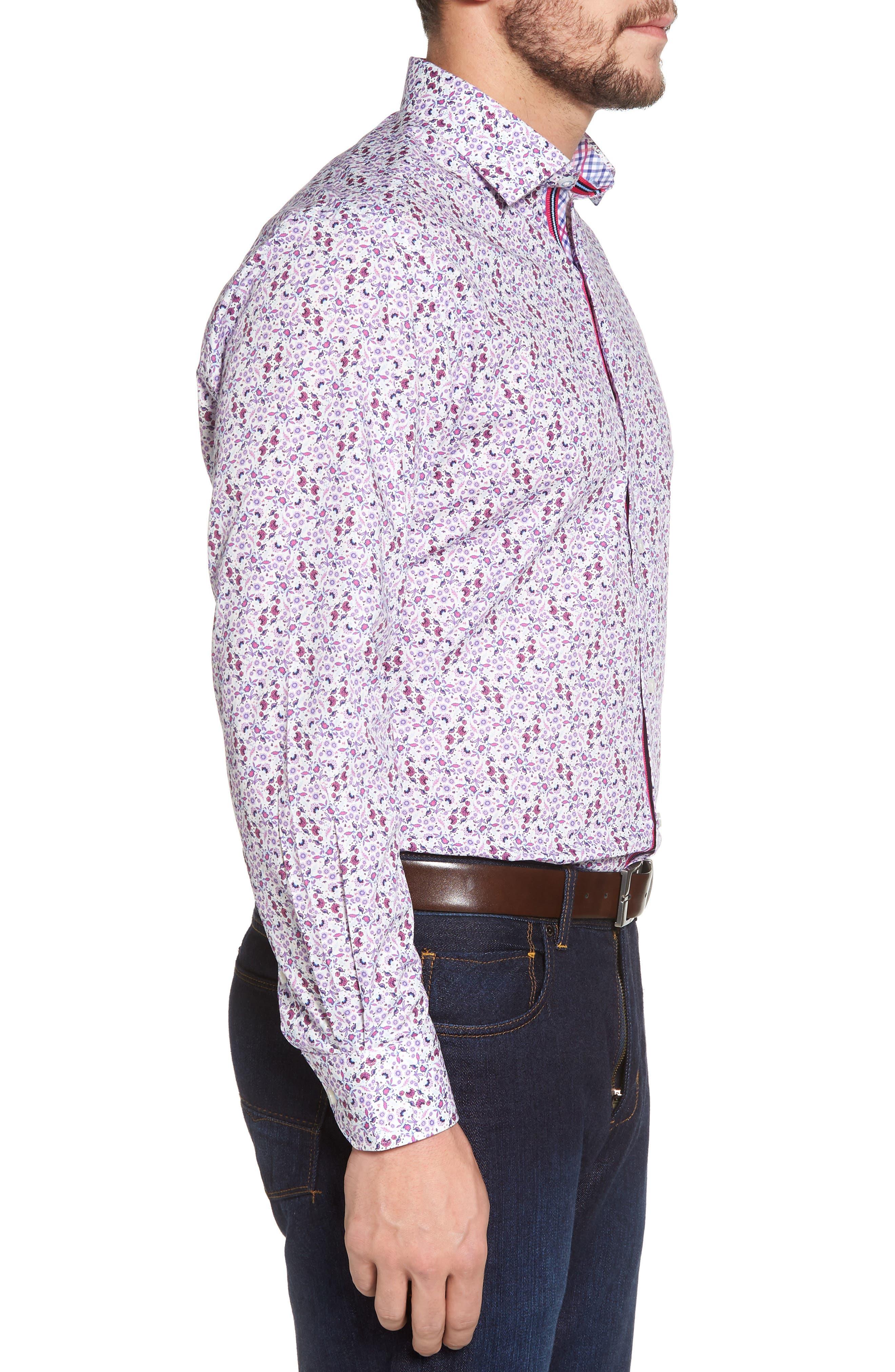 Kaj Regular Fit Floral Print Sport Shirt,                             Alternate thumbnail 3, color,                             Fuchsia
