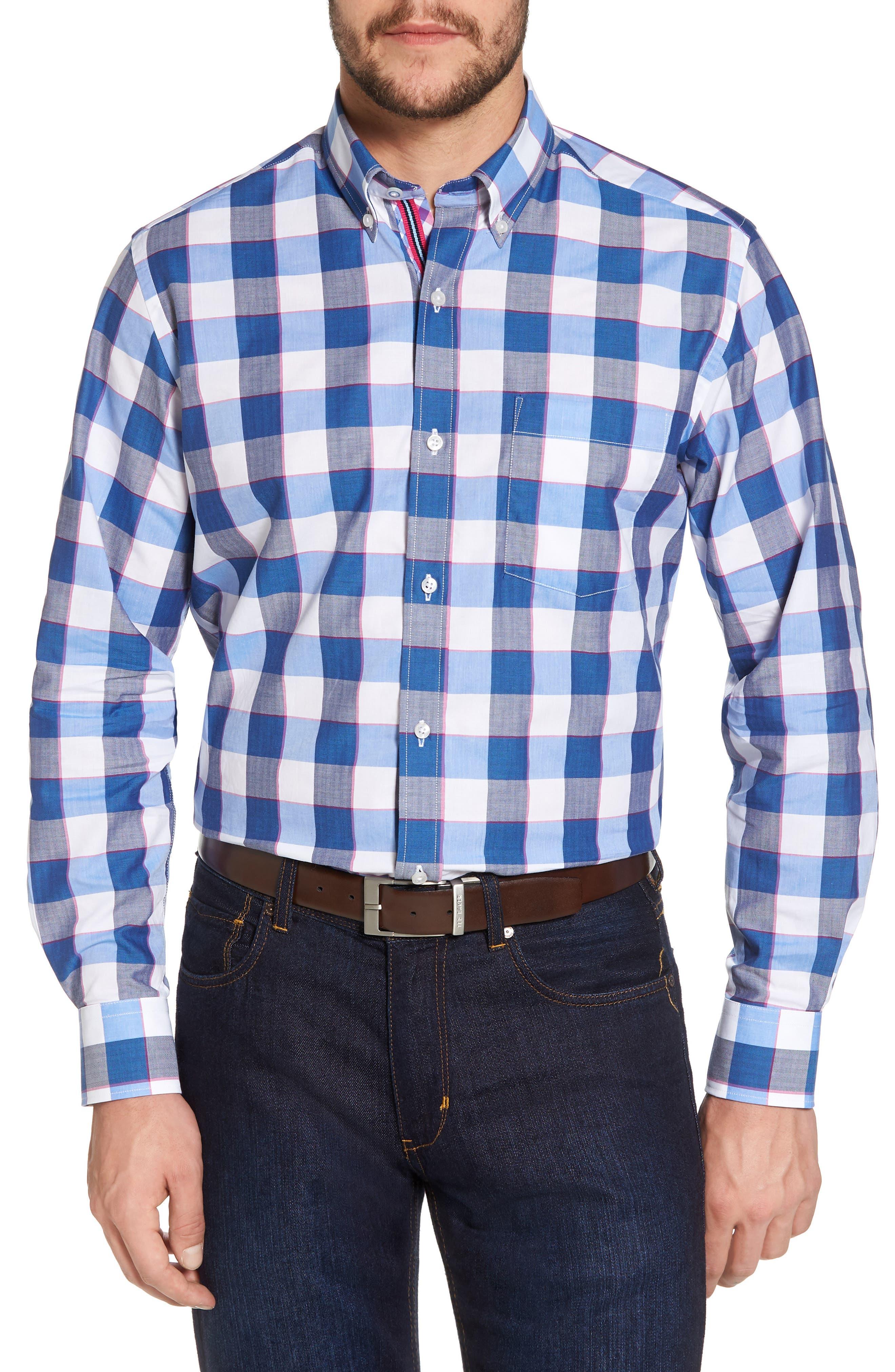 Jeremy Regular Fit Check Sport Shirt,                             Main thumbnail 1, color,                             Navy