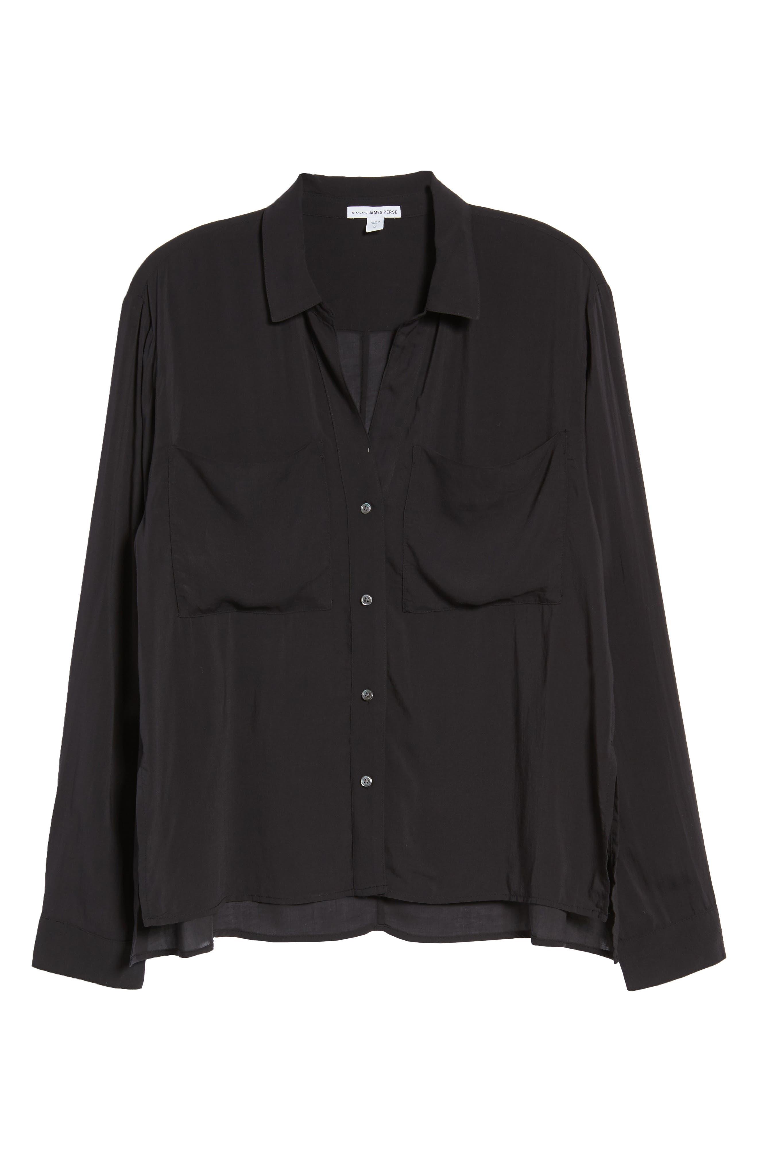 Relaxed Chiffon Shirt,                             Alternate thumbnail 6, color,                             Carbon