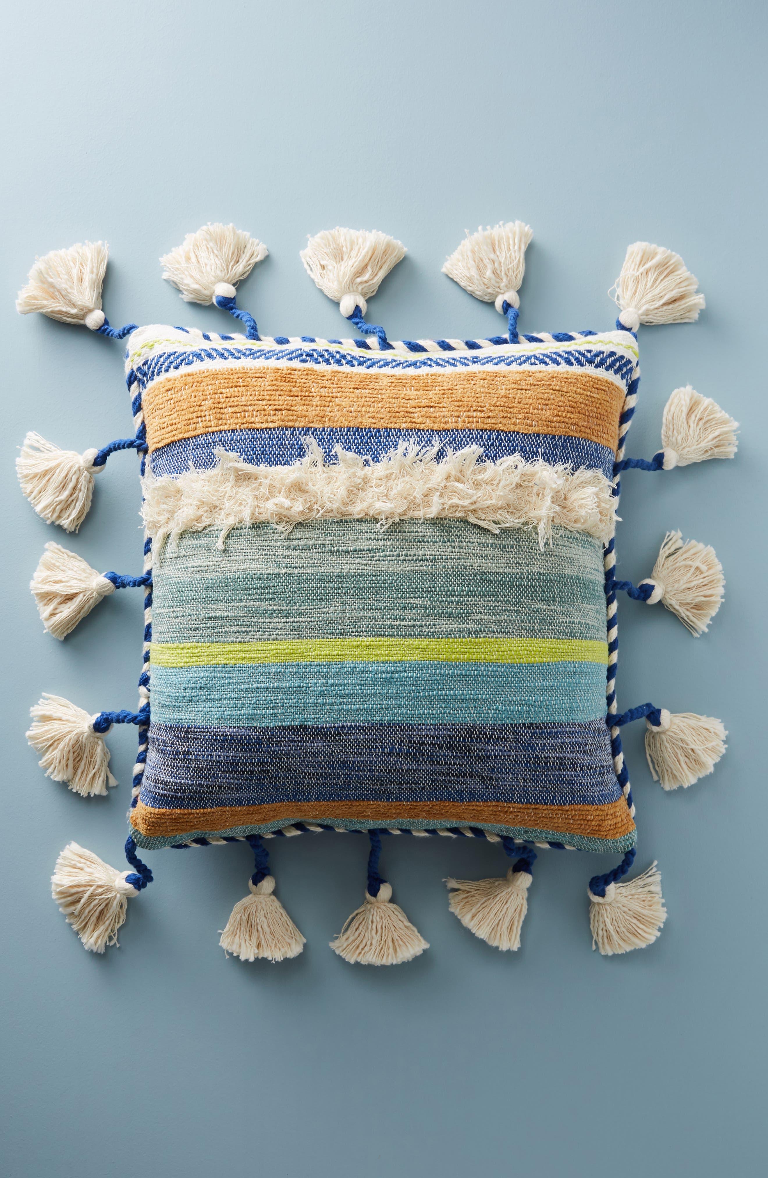 Woven Rami Accent Pillow,                             Alternate thumbnail 2, color,                             Blue Combo