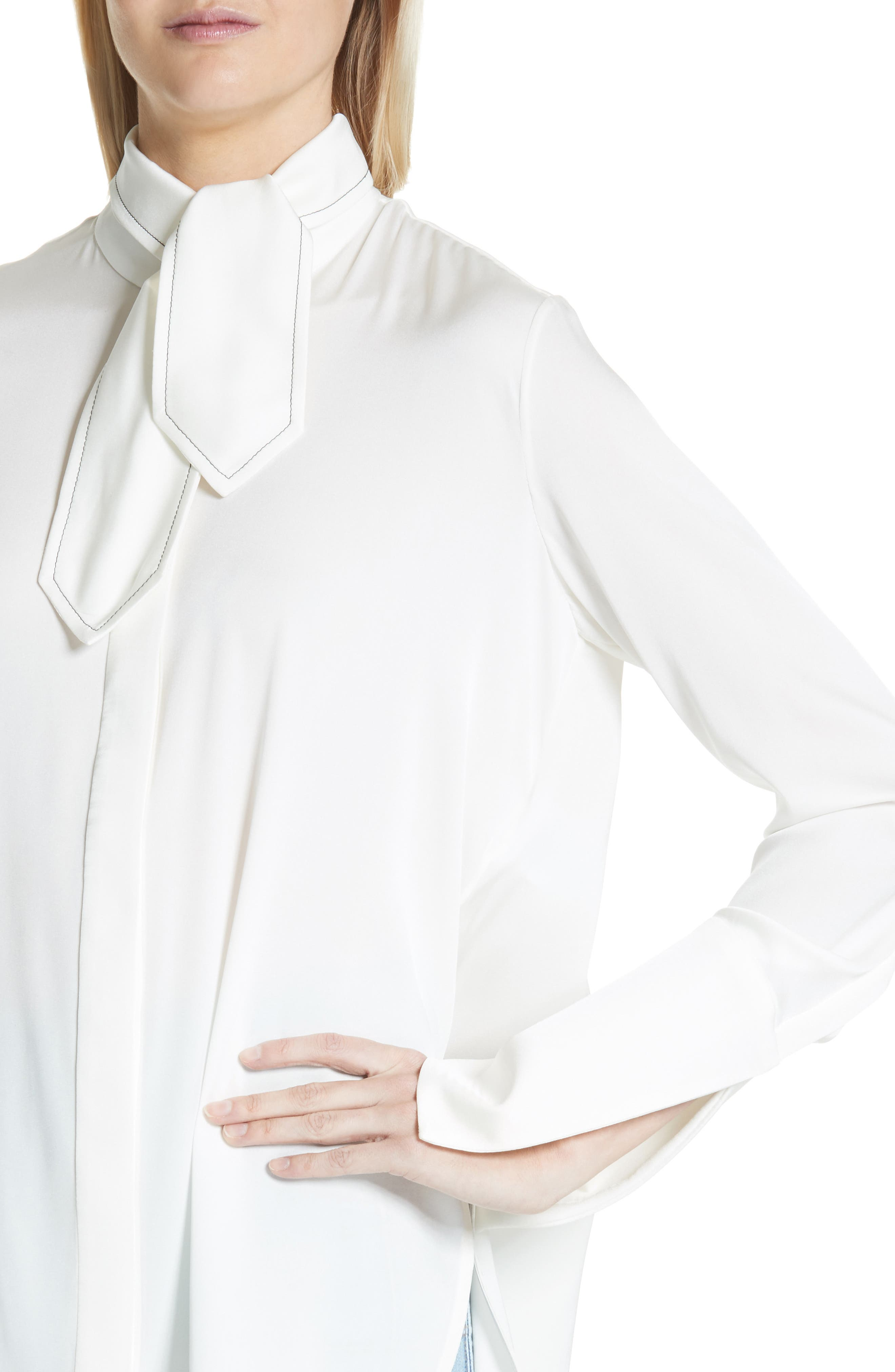 Ride Lonesome Tie Neck Blouse,                             Alternate thumbnail 4, color,                             Ivory