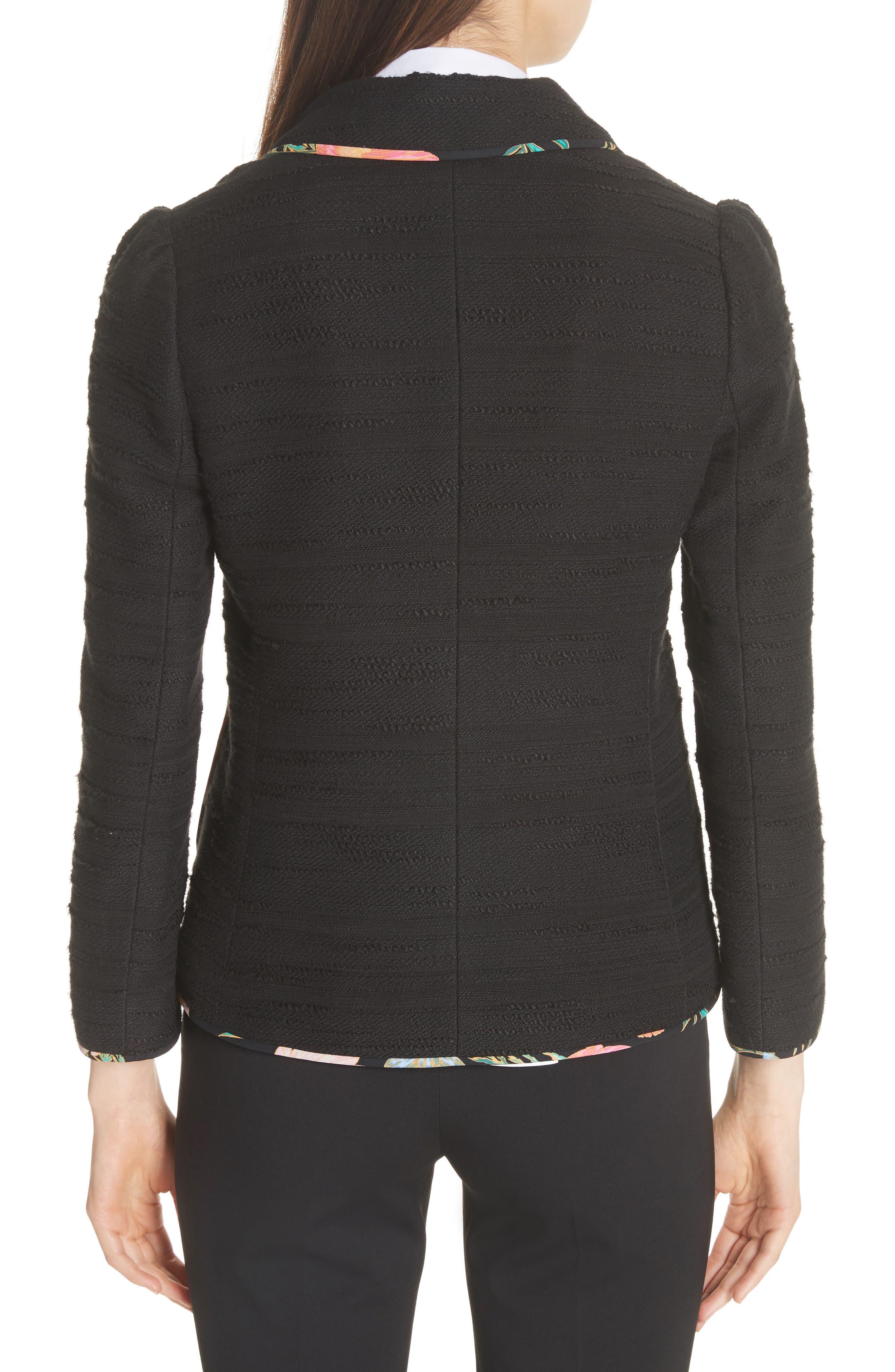 blossom trim tweed jacket,                             Alternate thumbnail 2, color,                             Black