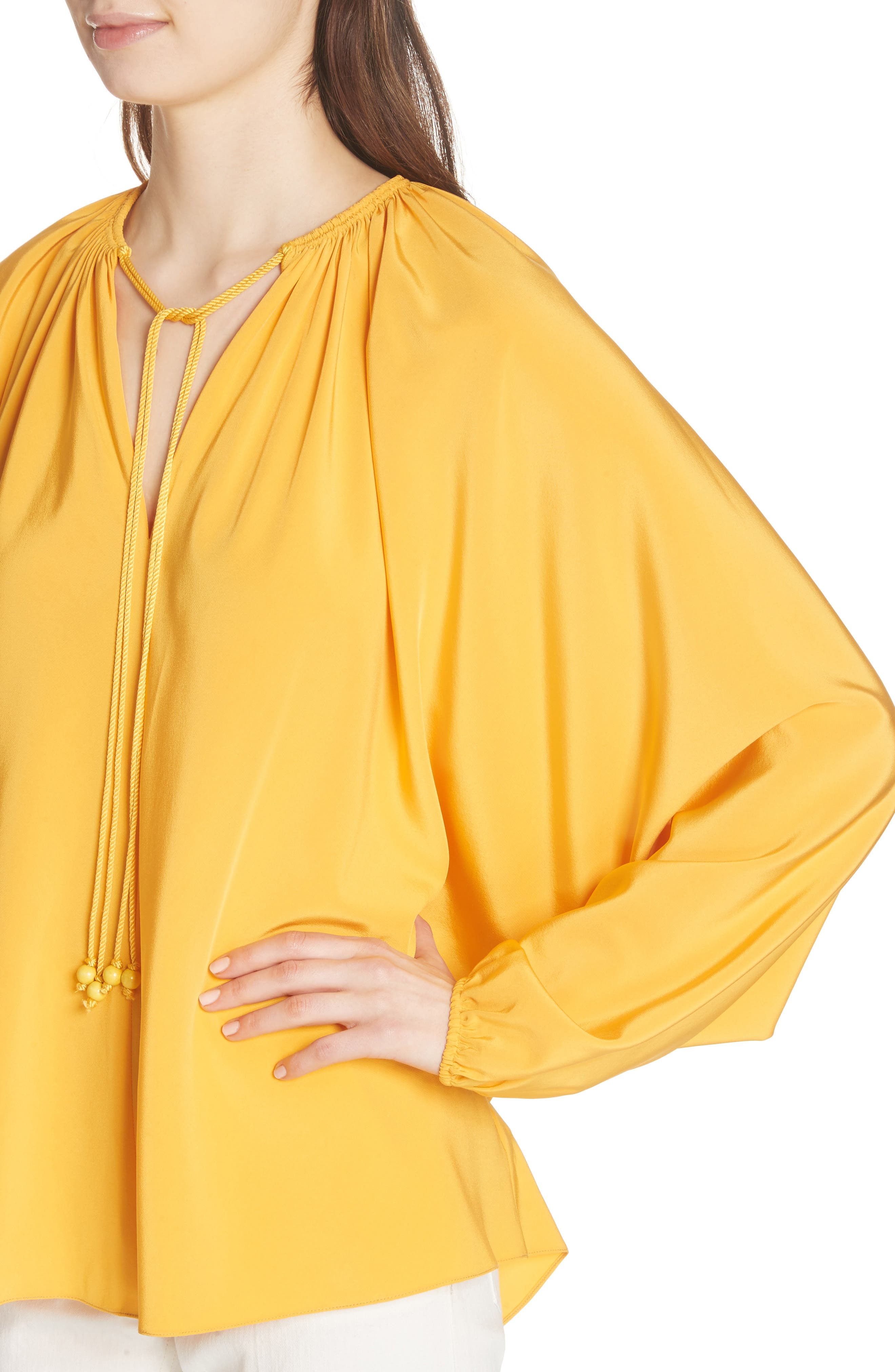 Chance Tie Neck Silk Top,                             Alternate thumbnail 4, color,                             Saffron