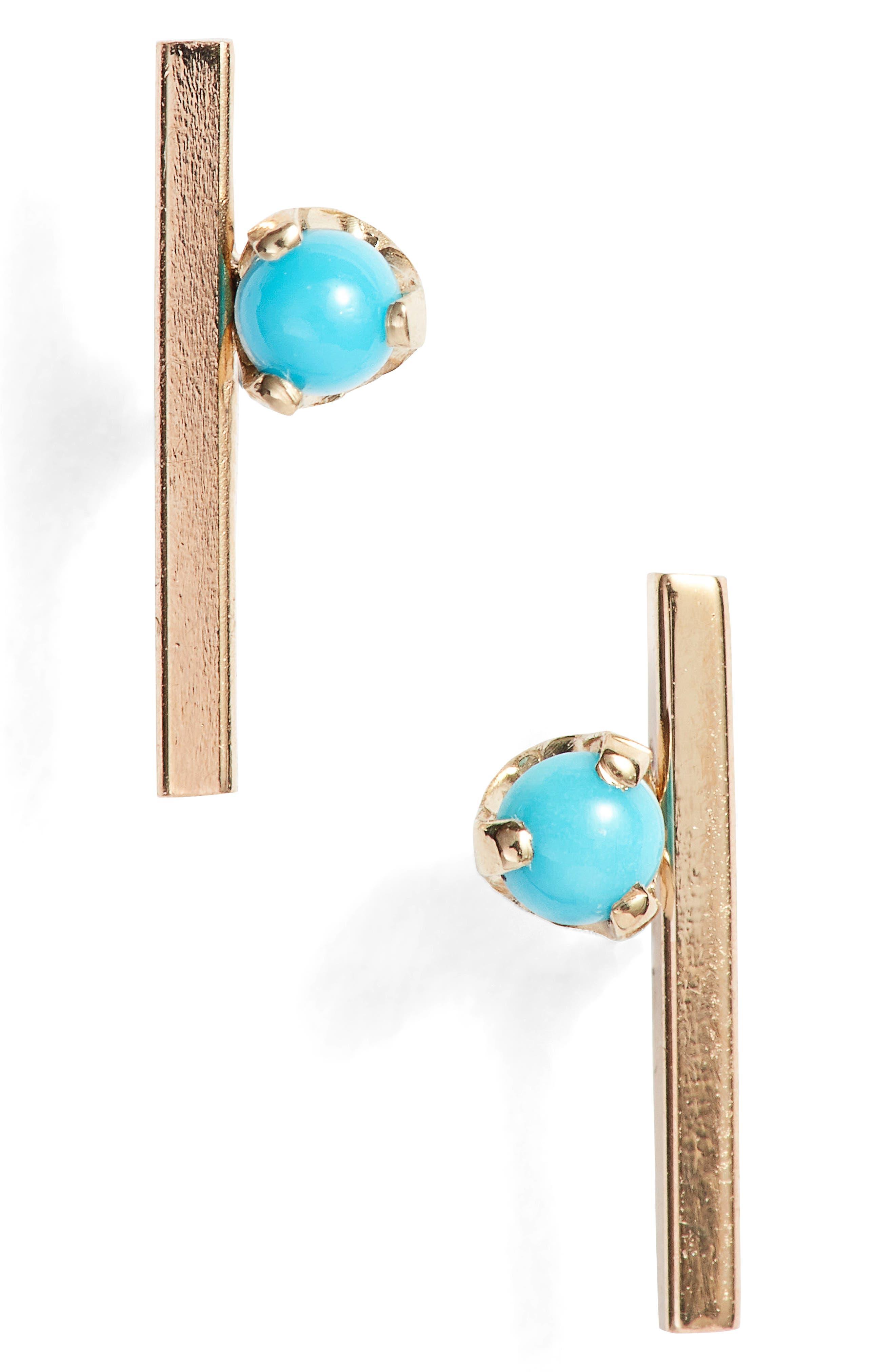Zoë Chicco Floating Bar Turquoise Stud Earrings